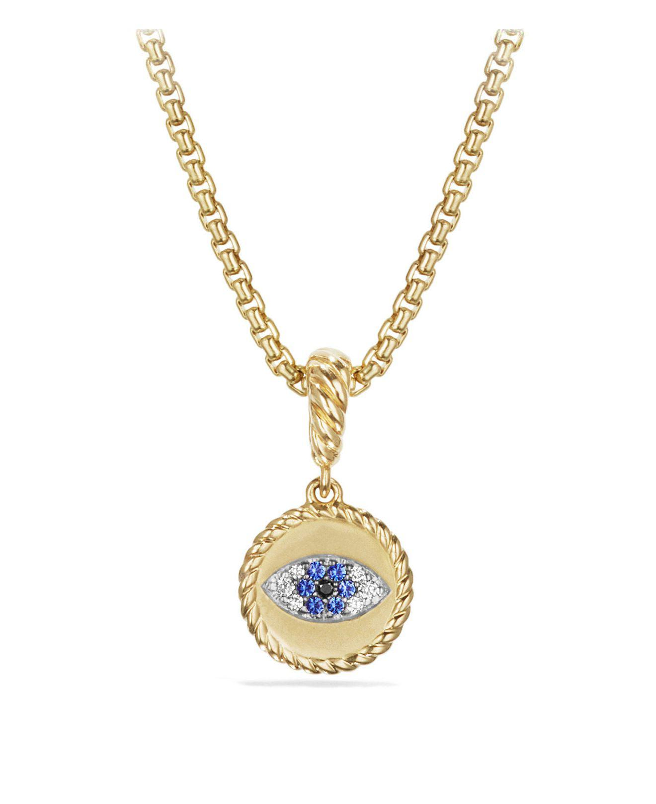 18kt yellow gold Cable Collectibles diamond and sapphire evil eye charm necklace - Metallic David Yurman Discount Shop Offer Low Price Fee Shipping Cheap Price NUS87l