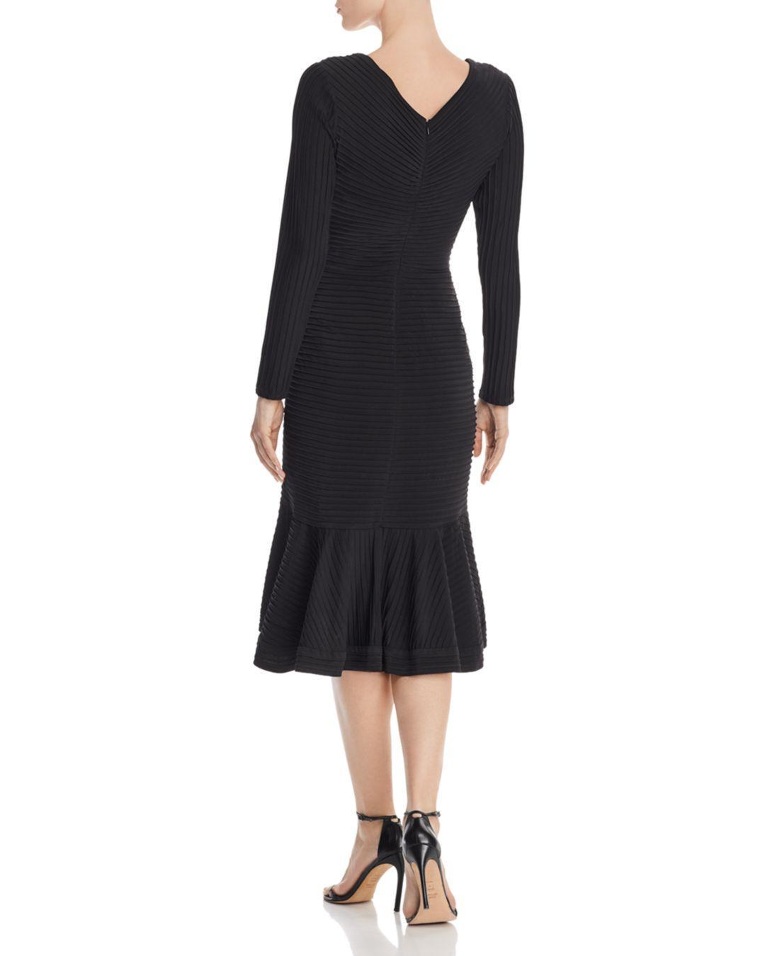 63913216a4fe Lyst - Tadashi Shoji Pintuck Trumpet Dress in Black - Save 25%