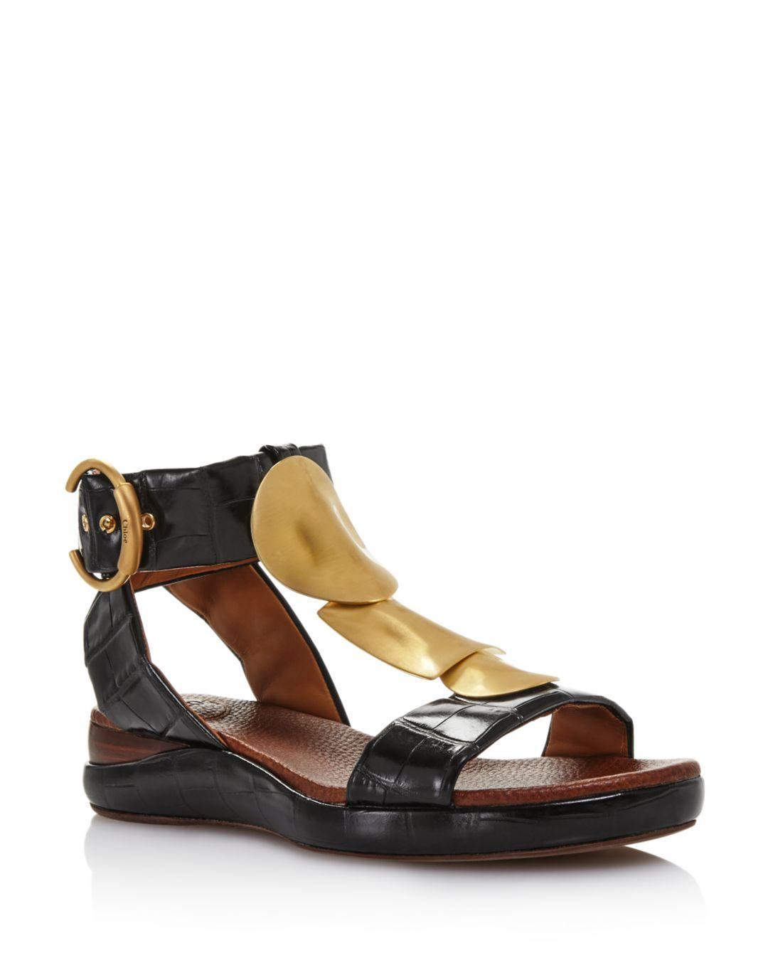 487480ae663cfd Lyst - Chloé Women s Wanda Flat Sandals in Black