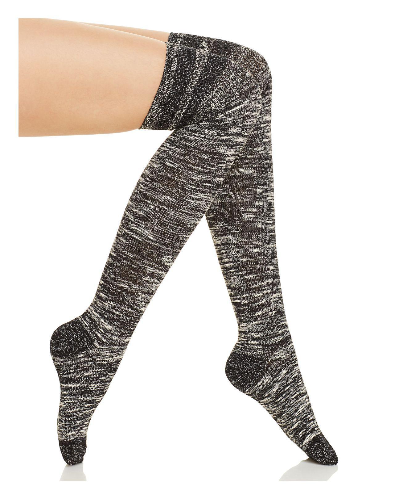 16bfb1aca56 Lyst - Hue Metallic Stripe Chunky Slub Over-the-knee Socks in Black