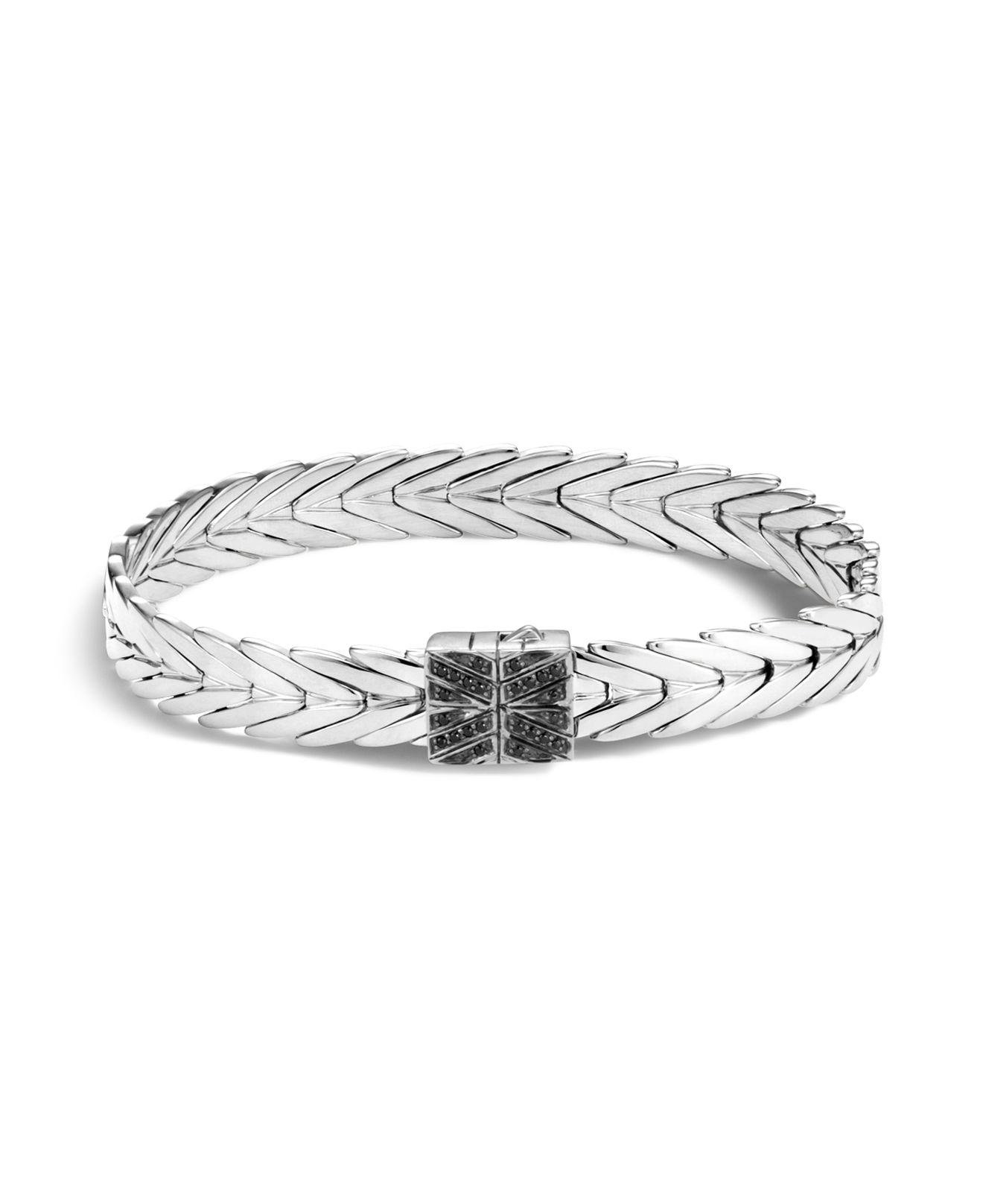 John Hardy Hinged Bangle In Silver With Black Spinel S Black spinel XyJuk8q