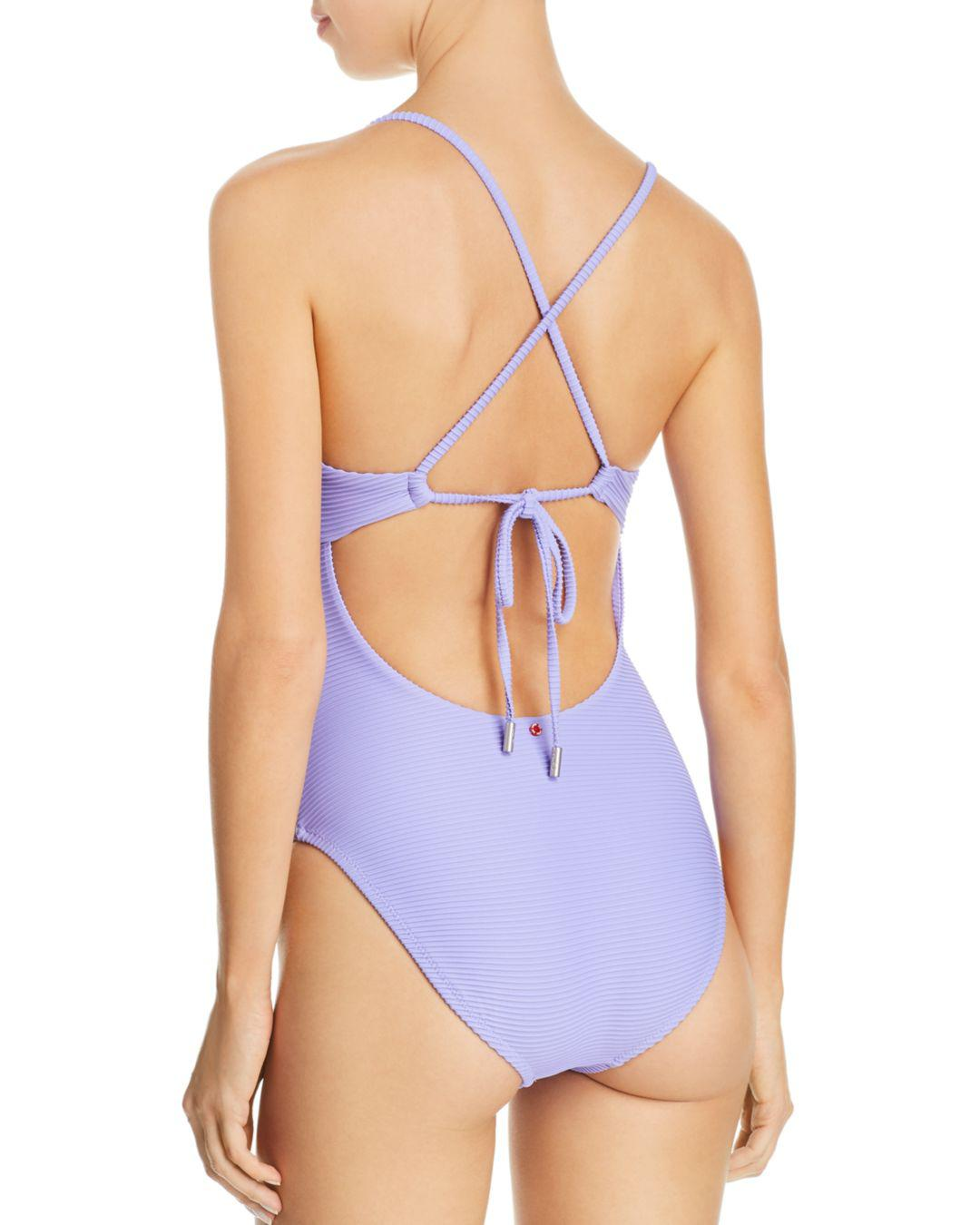 ca4ff9e37ecd9 Red Carter Ribbed Plunge One Piece Swimsuit in Purple - Lyst