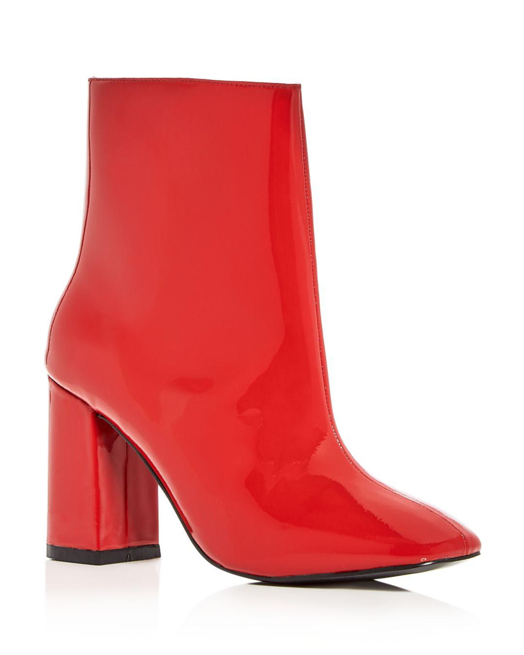 1acaa1c13b2cd Jaggar Women's Patent Leather Block Heel Booties in Red - Lyst