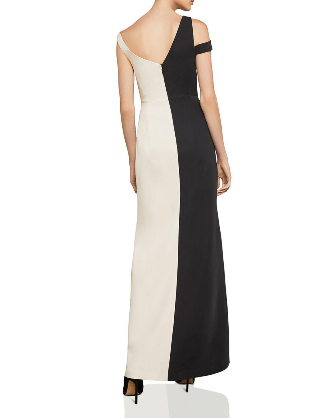 936686ca2c BCBGMAXAZRIA Asymmetric Color-block Gown in Black - Lyst