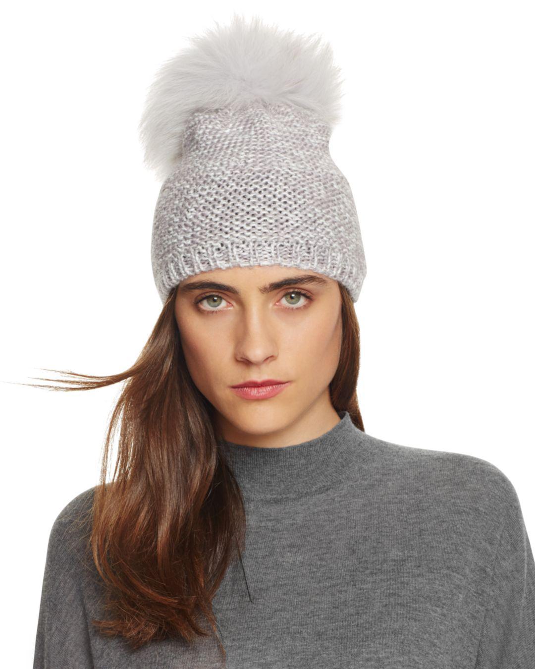 ec5c948f15120 Kyi Kyi Slouchy Hat With Fox Fur Pom-pom in Gray - Lyst