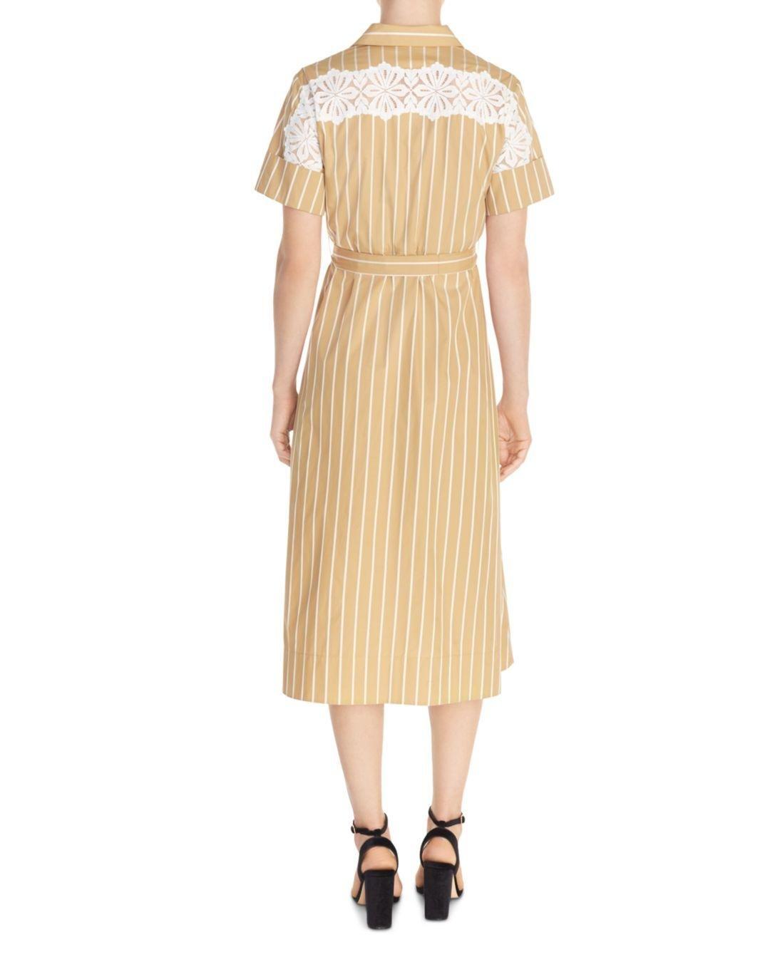 e24c76f33607 Lyst - Sandro Stormy Striped Midi Shirt Dress in Natural