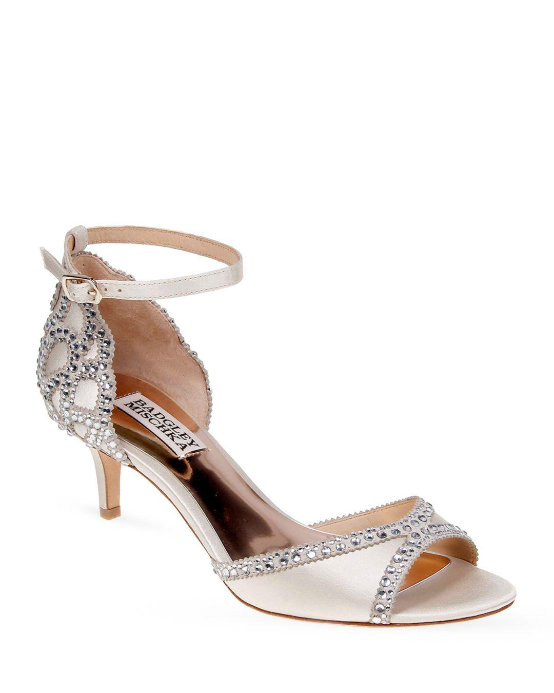 e185fb2d2ce Lyst - Badgley Mischka Gillian Embellished Ankle Strap Sandals in White