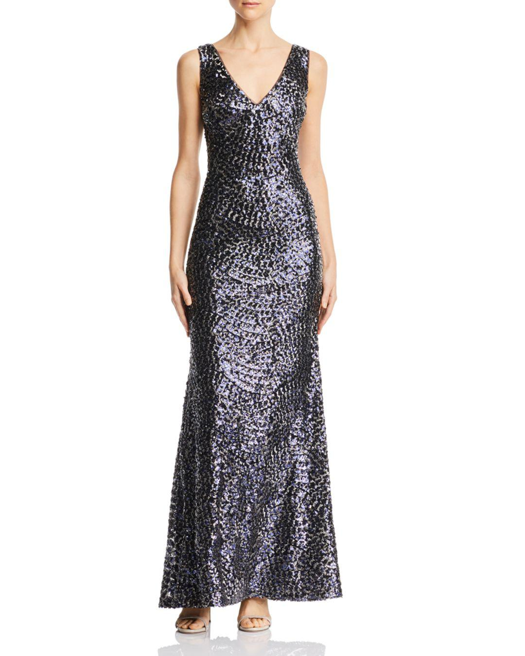 34b030ff6539 Laundry by Shelli Segal Sequin Contour V-neck Gown in Blue - Save 21 ...