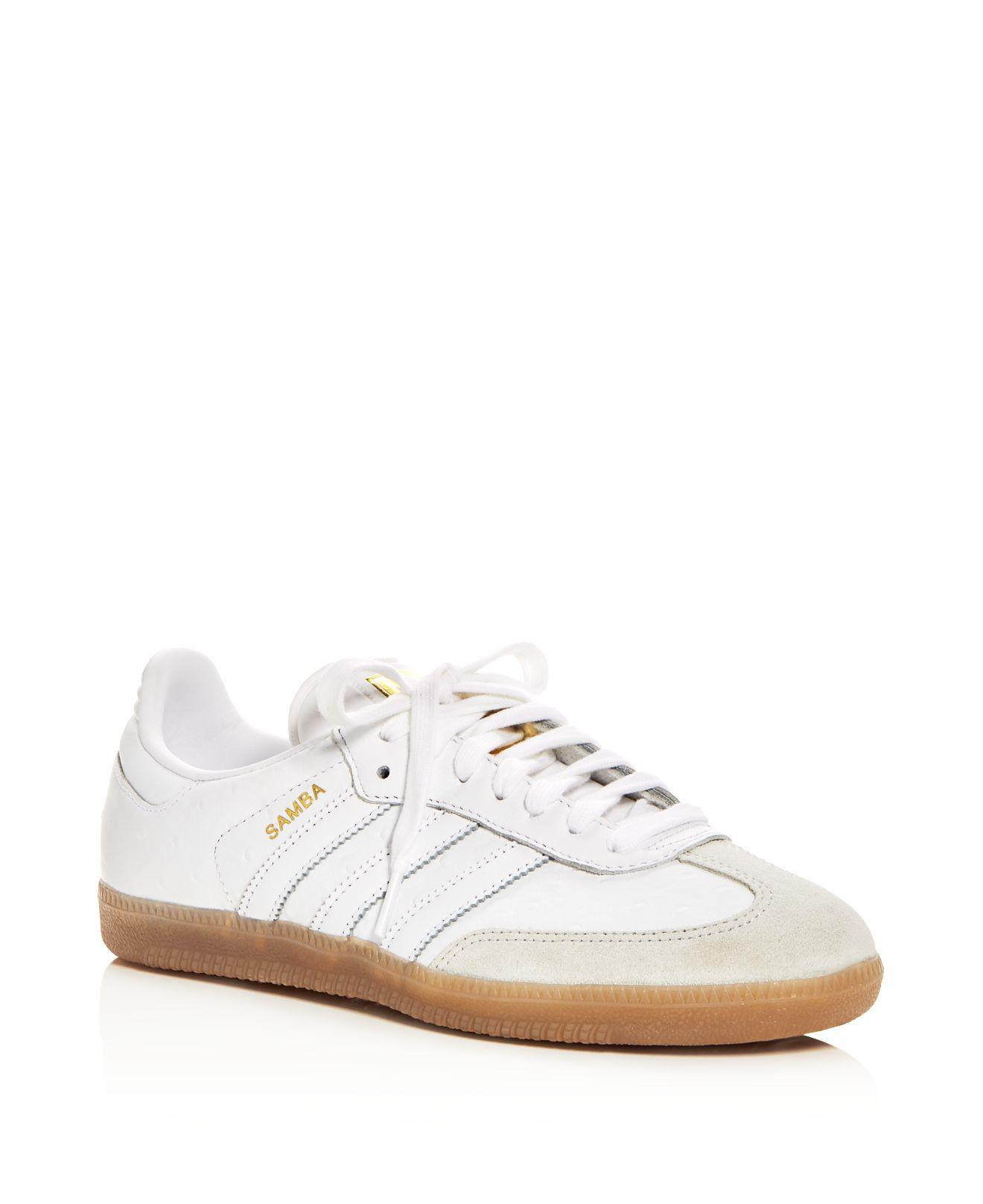abb044eb3 ... italy lyst adidas womens samba leather lace up sneakers in white d0429  25d07