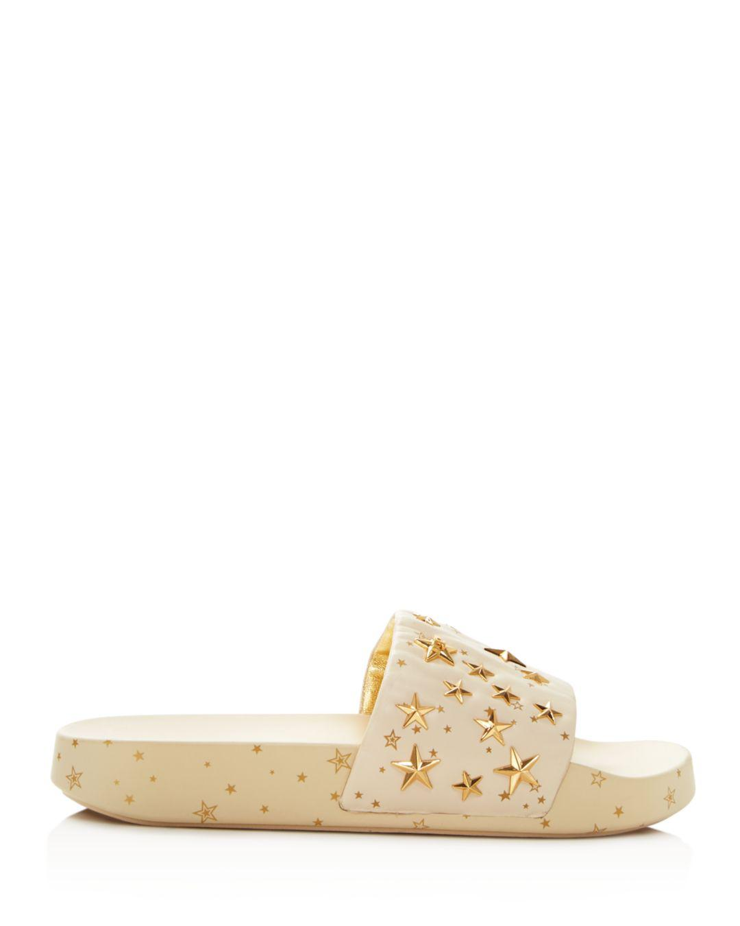 431c00e74b68 Lyst - Tory Burch Star Studded Leather Platform Slides in Natural