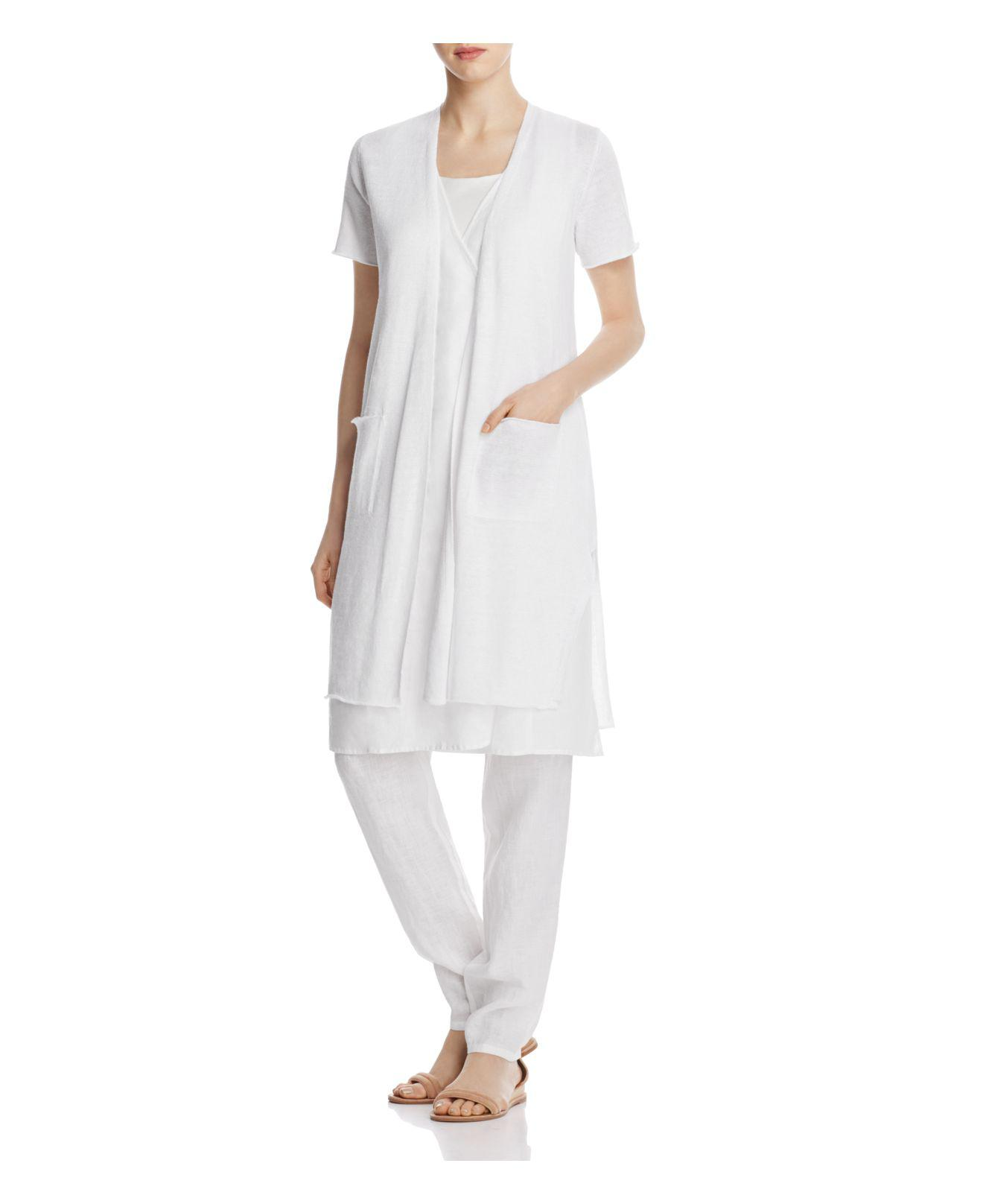 Eileen fisher Short Sleeve Long Cardigan in White | Lyst