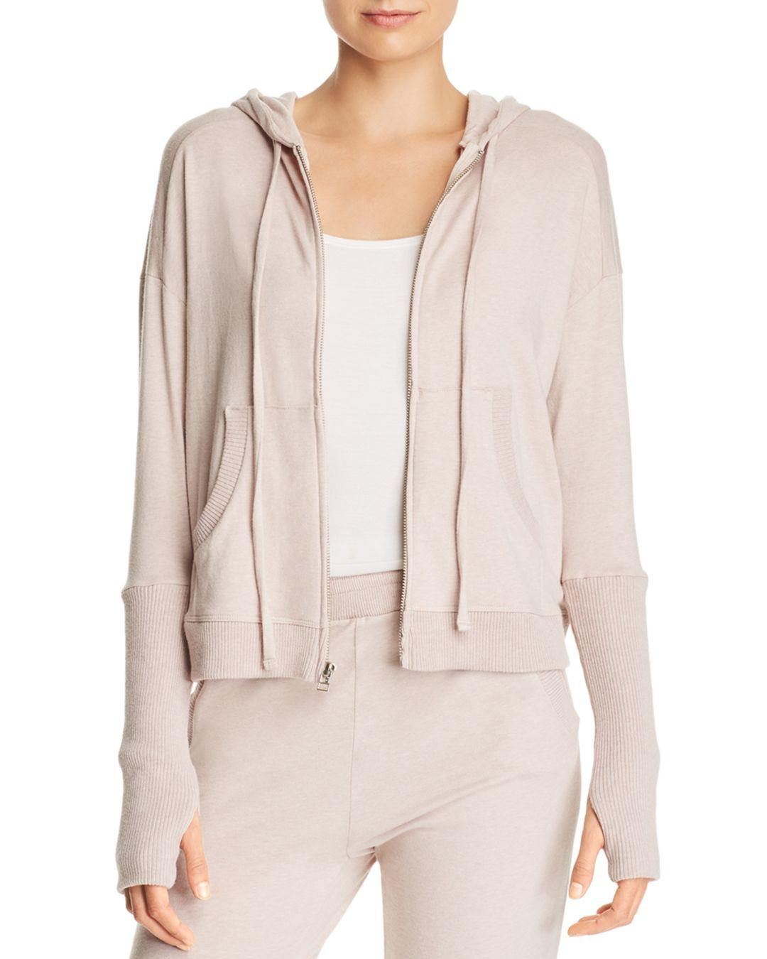 Lyst - Enza Costa Zip-front Hoodie in Pink 47e59a112