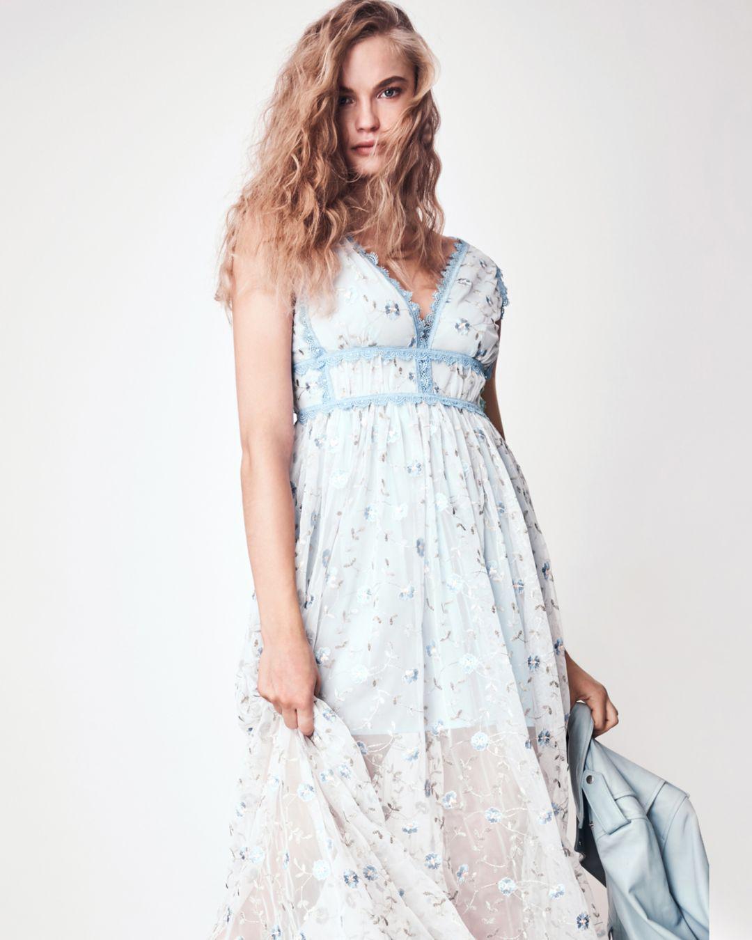d8edd0f11c3e Lyst - Aqua Lace-trim Embroidered Maxi Dress in Blue