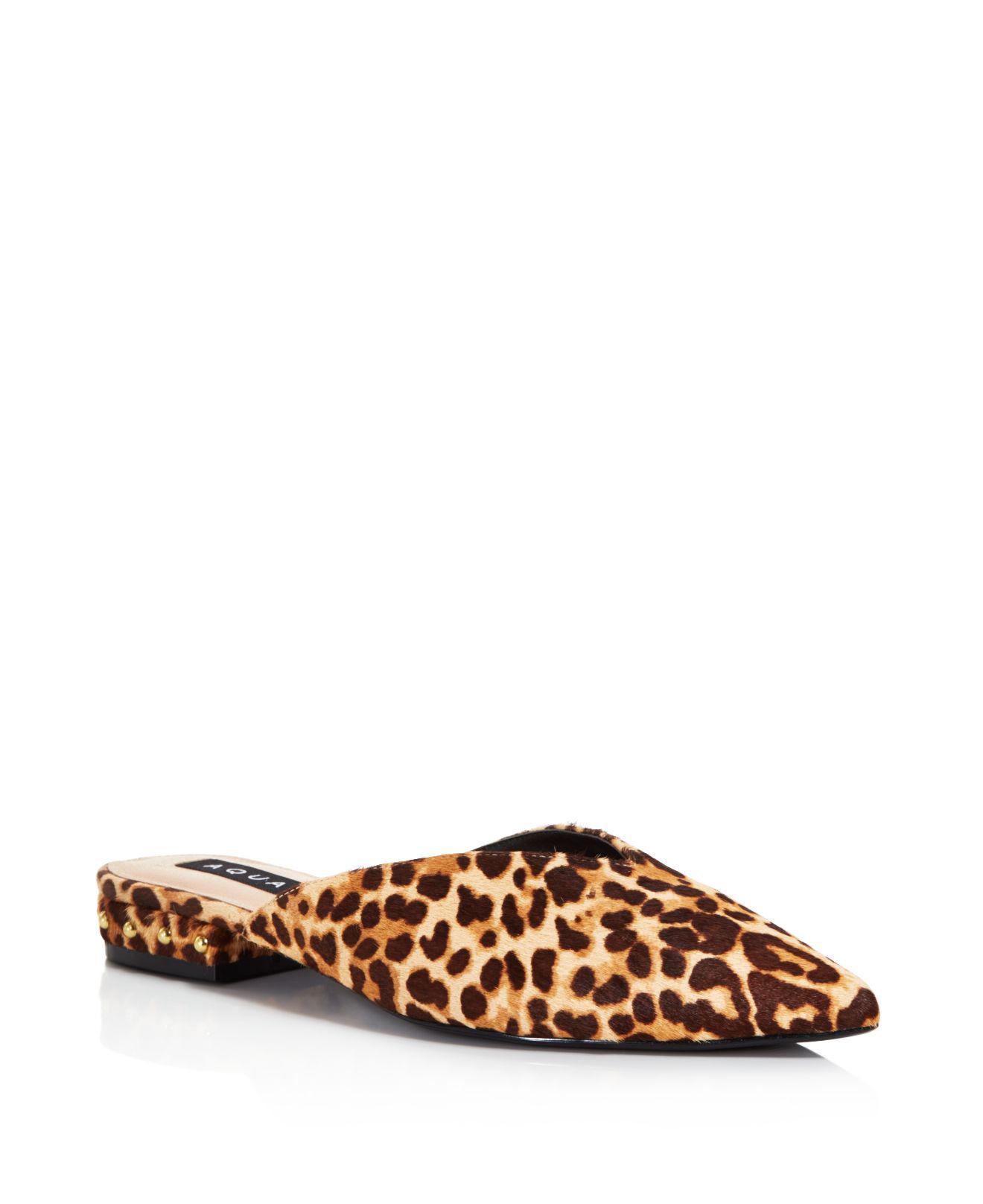 Aqua Women's Leopard Print Calf Hair Mules - 100% Exclusive OMOcHsLoVa