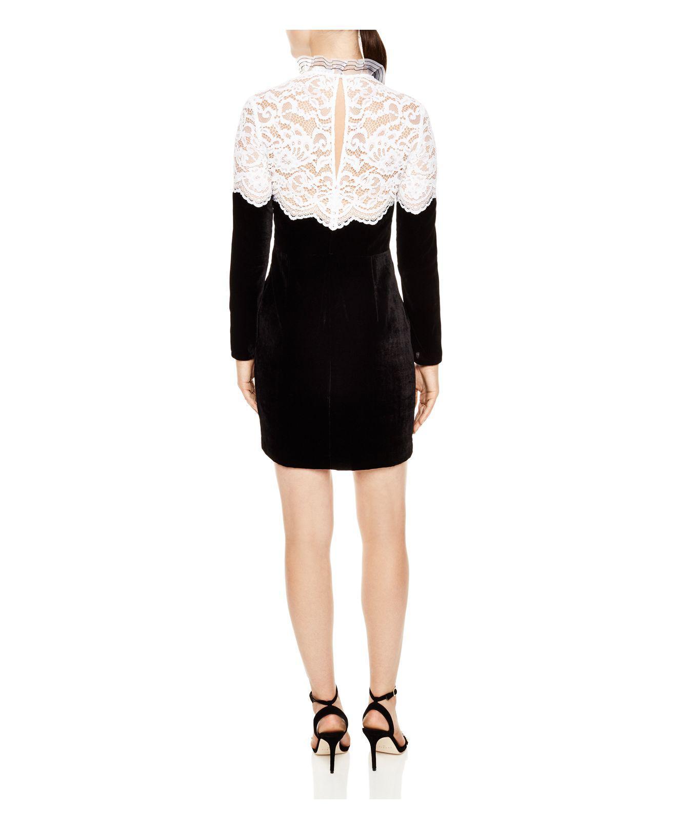 Sandro Junie Lace Yoke Velvet Mini Dress In Black Lyst