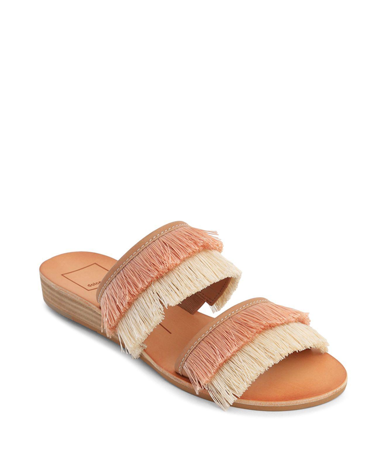 Dolce Vita Women's Haya Fringe Two Band Demi Wedge Slide Sandals IdD2jmQwfA