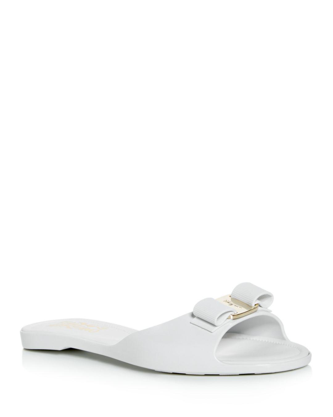 7dde43ed5652 Lyst - Ferragamo Women s Cirella Slide Sandals in White