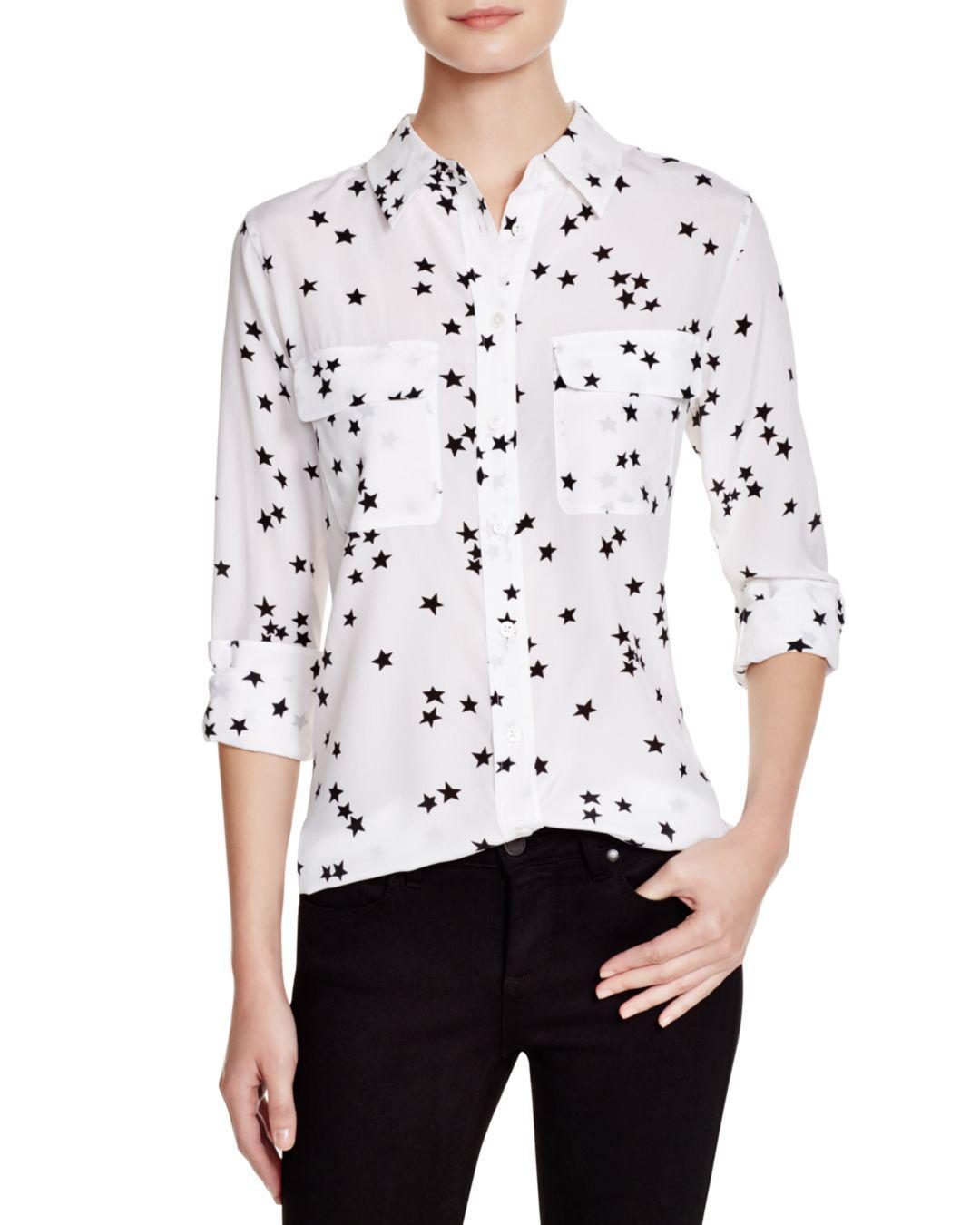 bb7ff082e8a7d Equipment - White  slim Signature  Star Print Silk Shirt - Lyst. View  fullscreen
