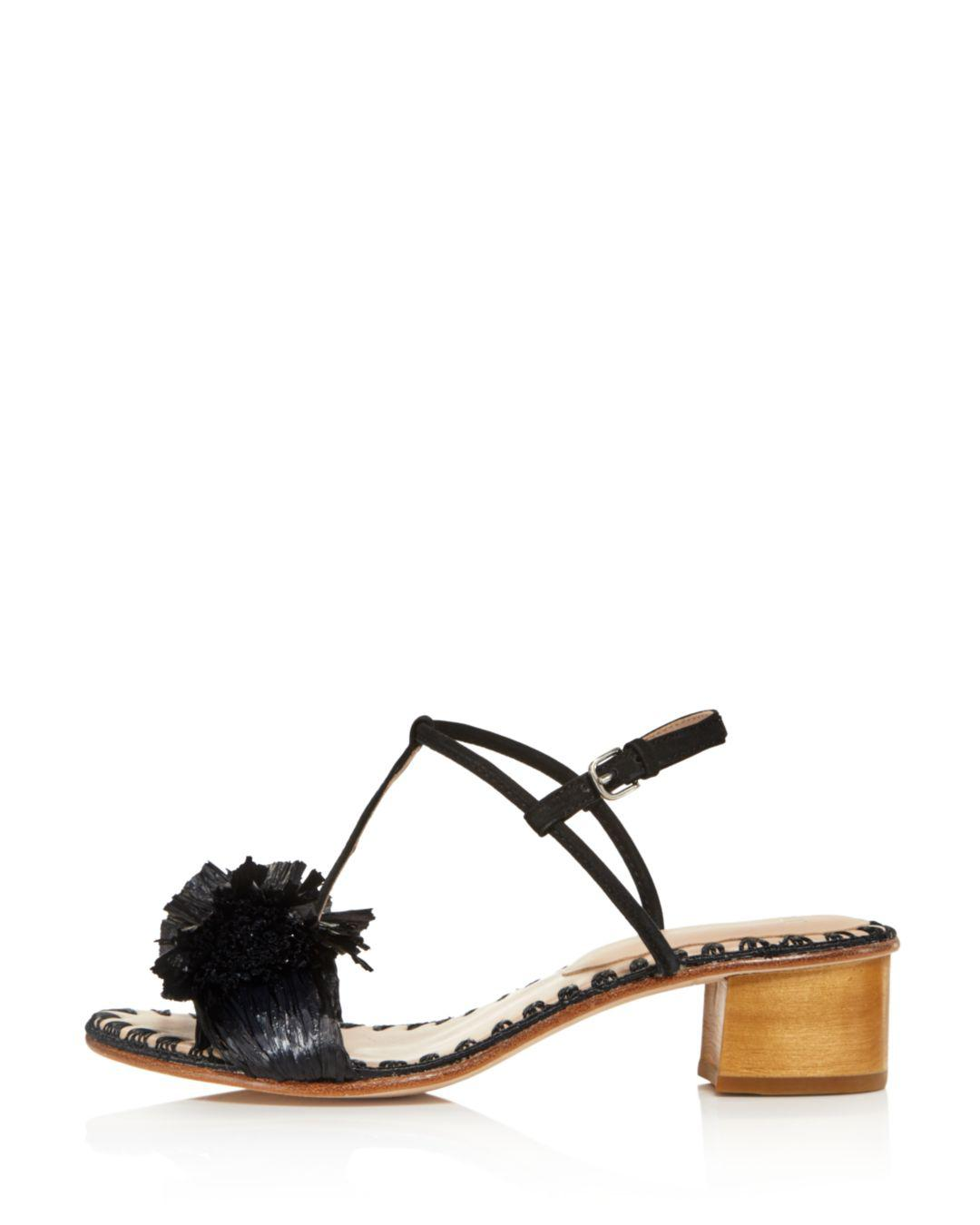 48d8dd512f4 Lyst - Pour La Victoire Women s Julie Nubuck Leather   Raffia T-strap Block  Heel Sandals in Black
