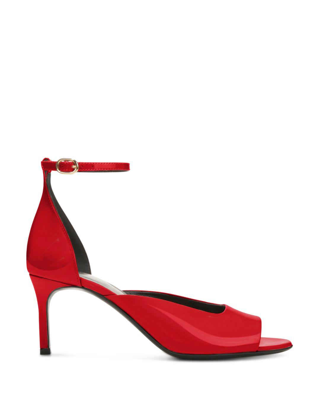 8032e7bb7f02 Lyst - Via Spiga Women s Jennie Patent Leather Mid-heel Sandals in Red -  Save 33%