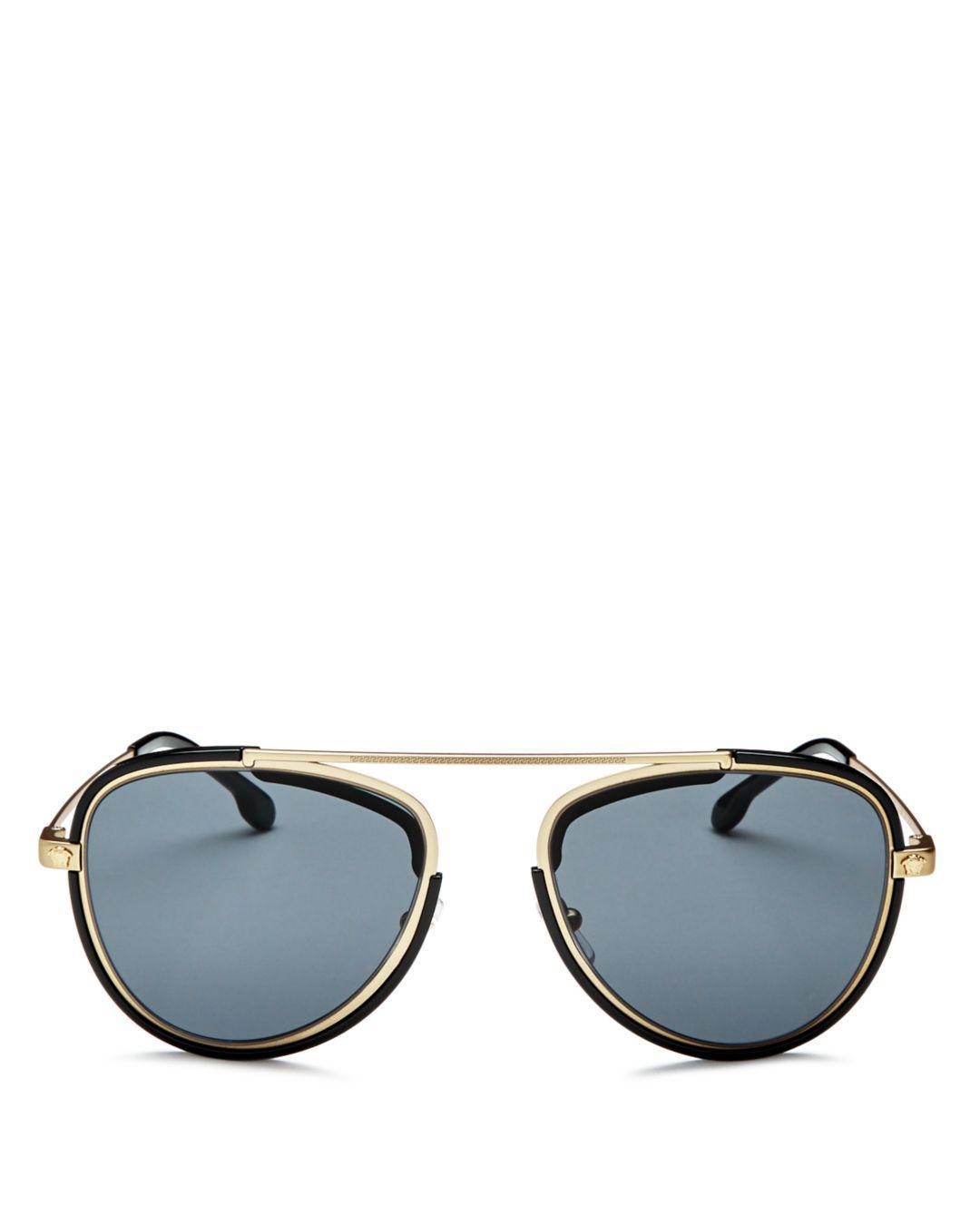 6df1efe54b Versace. Metallic Versace Men s Brow Bar Aviator Sunglasses ...