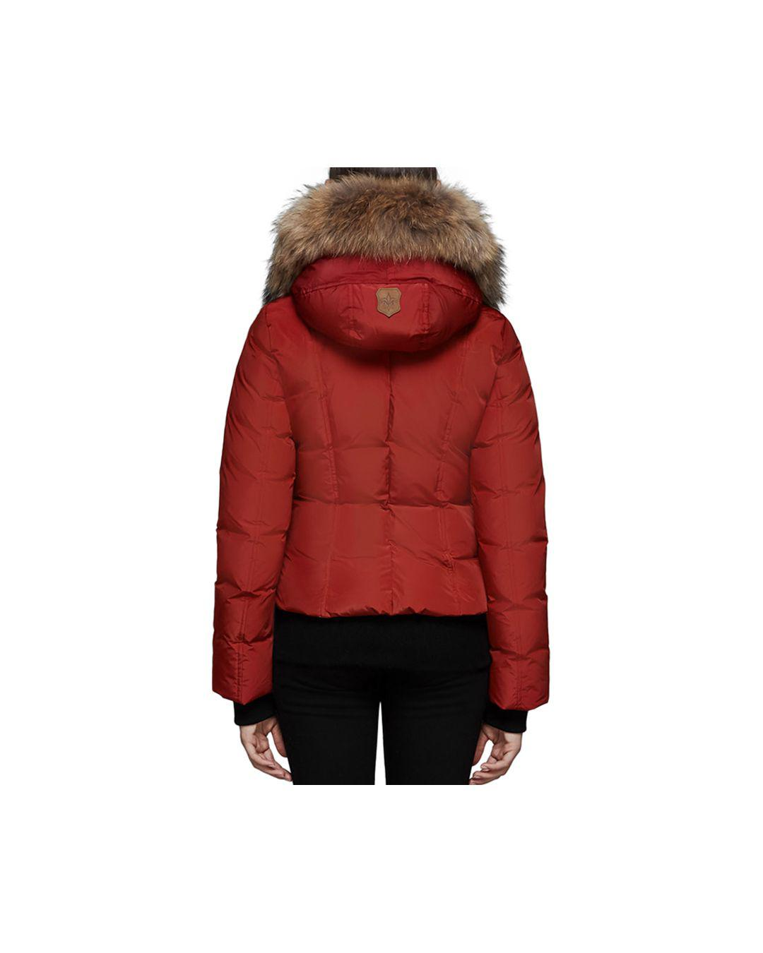 0f53b4cc90ea7 Lyst - Mackage Romane Fur Trim Down Bomber Jacket in Red - Save 30%
