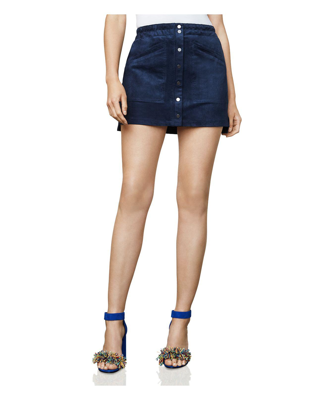 8ddff10fb BCBGMAXAZRIA Mora Faux-suede A-line Mini Skirt in Blue - Lyst