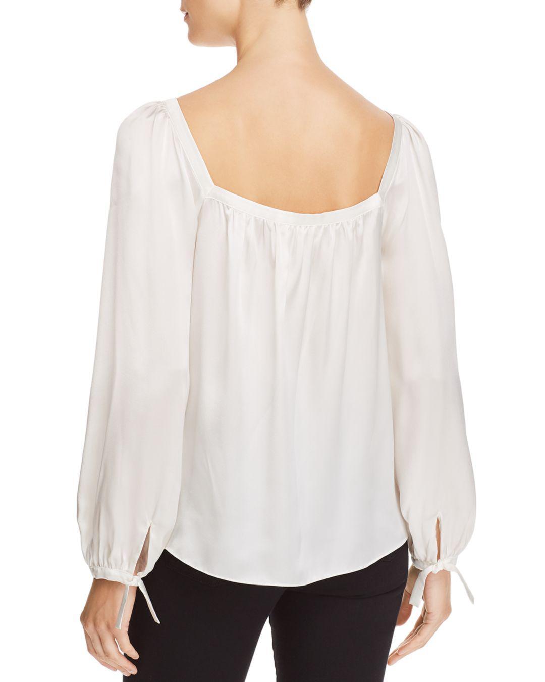cf6f6708440705 Rebecca Taylor Silk Charmeuse Square-neck Top in White - Lyst