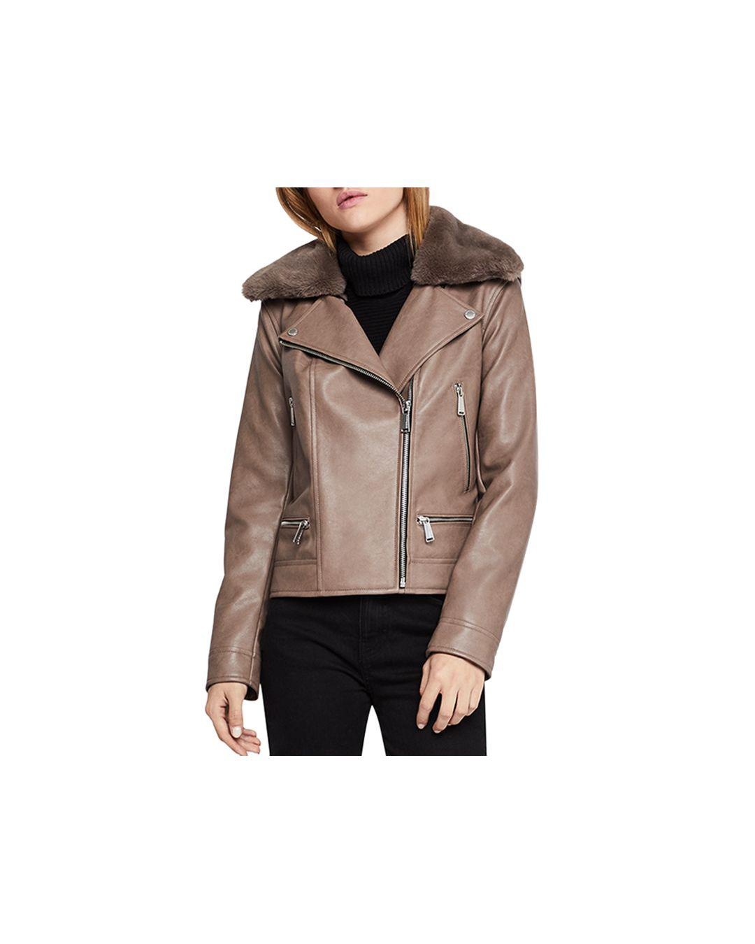 d9be46138d7 Lyst - BCBGeneration Faux-fur Collar Faux Leather Moto Jacket in Brown