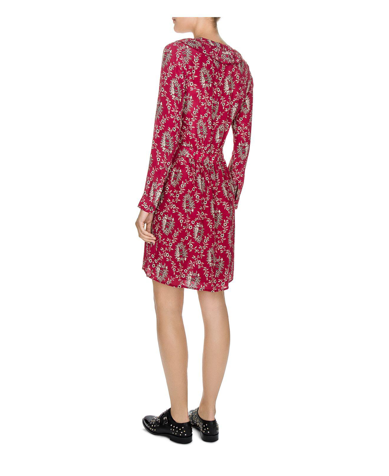 de36e343efd600 The Kooples Rodeo Snake Printed Silk Dress in Red - Lyst