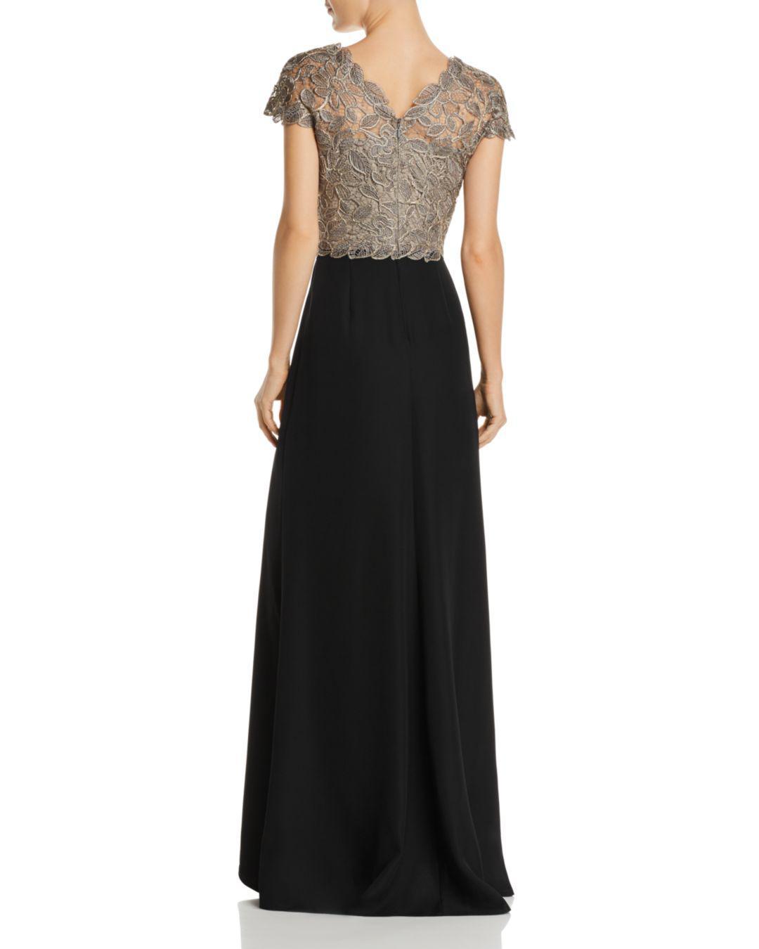 5dc2907c85ca Lyst - Tadashi Shoji Lace Bodice Gown in Black