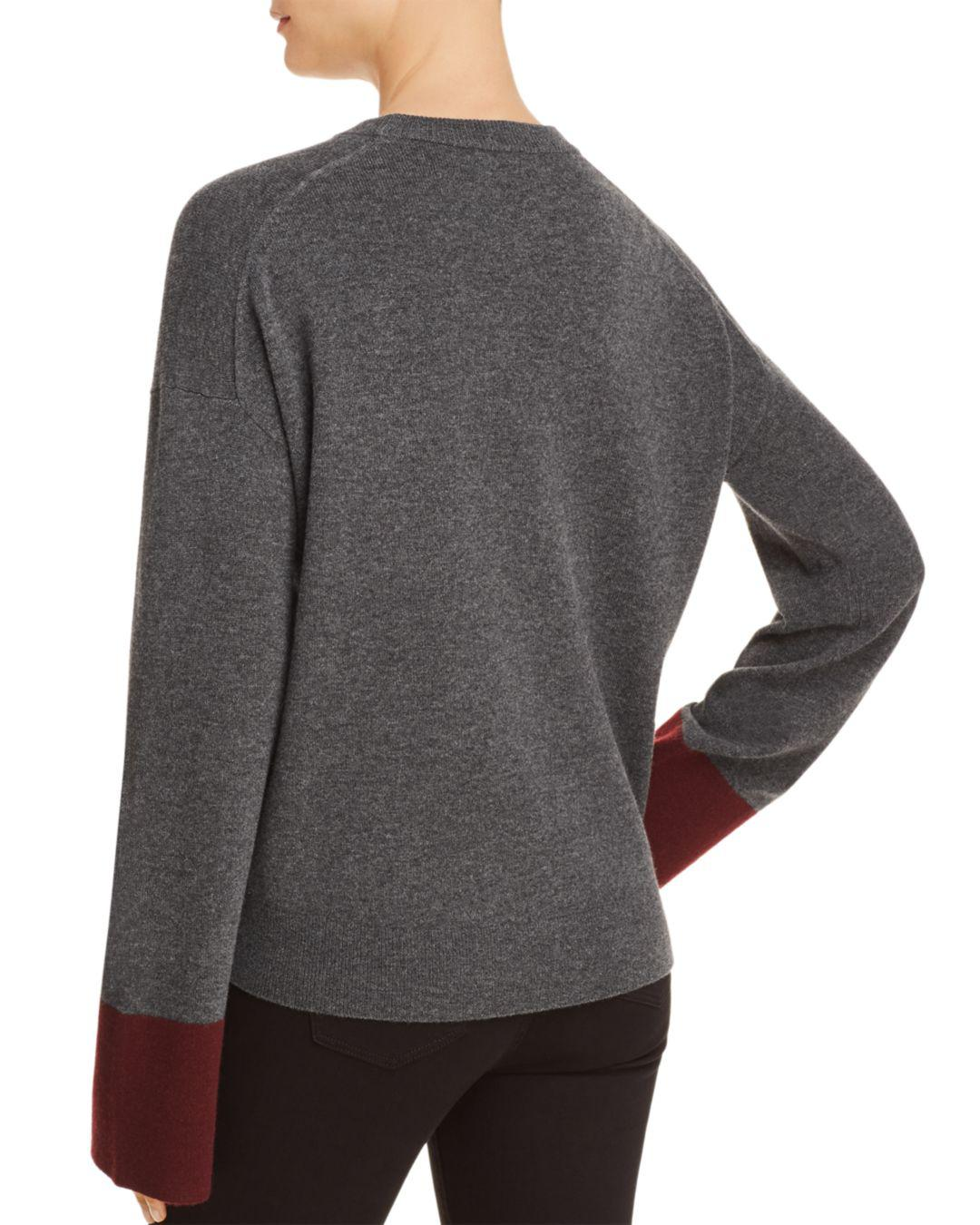 f816d7969ea Theory Color-block Wool   Cashmere Sweater in Gray - Lyst