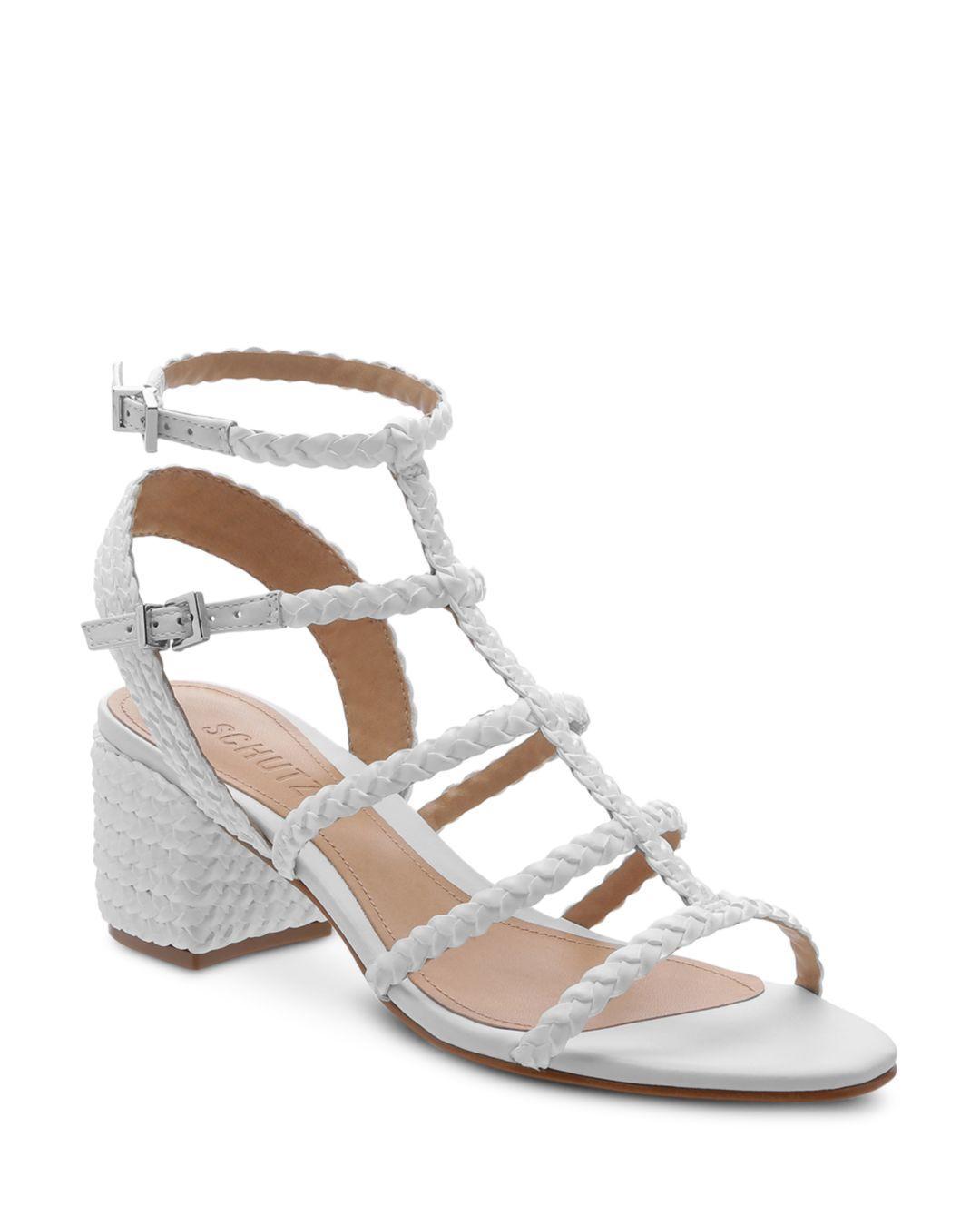 c260387ffc1 Lyst - Schutz Women s Rosalia Strappy Block-heel Sandals in White ...