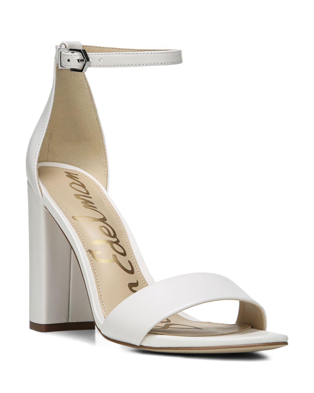 3c71947d41a1 Lyst - Sam Edelman Women s Yaro Ankle Strap Block Heel Sandals in White