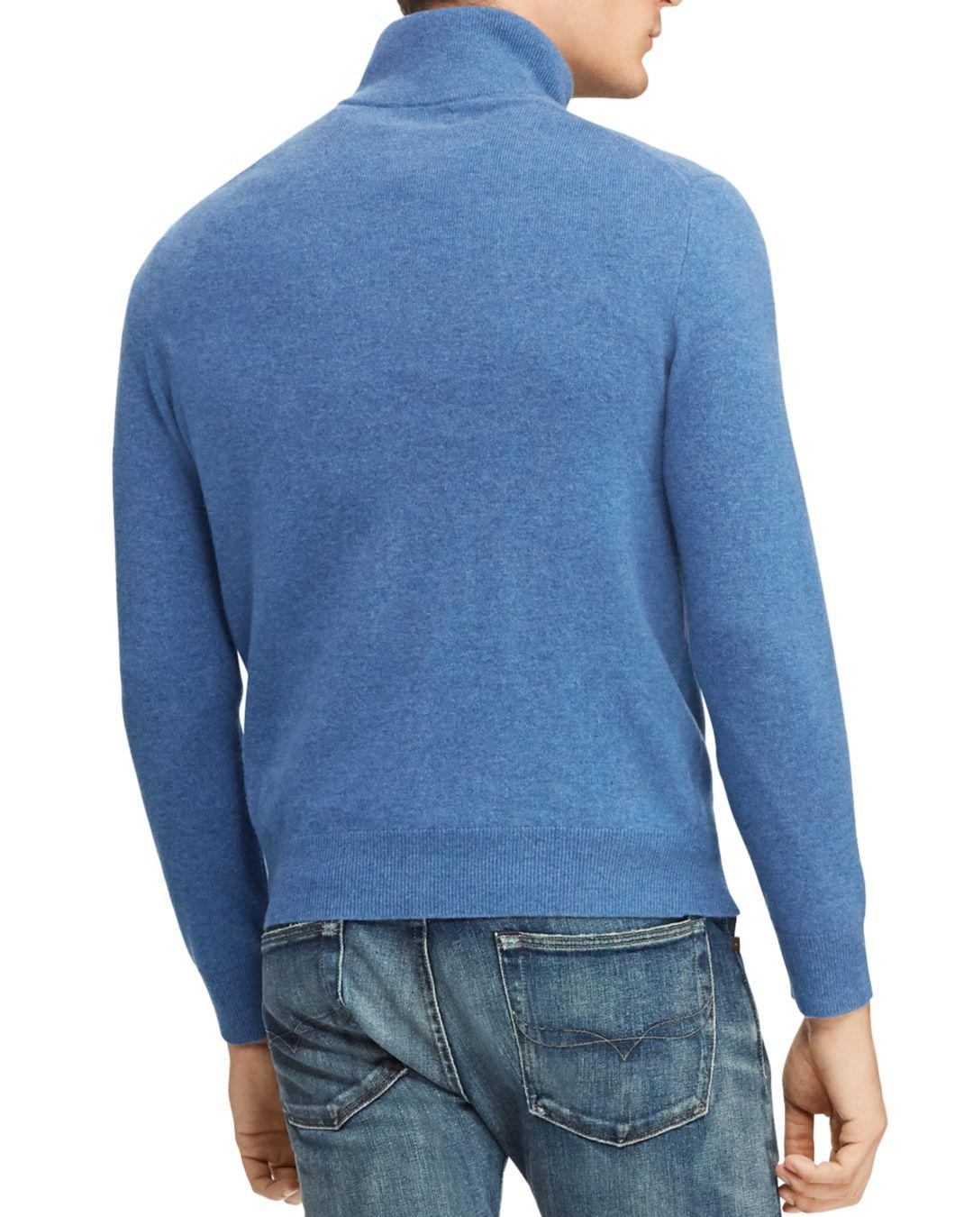 d75b4bbd128 Lyst - Polo Ralph Lauren Merino Wool Half-zip Sweater in Blue for Men