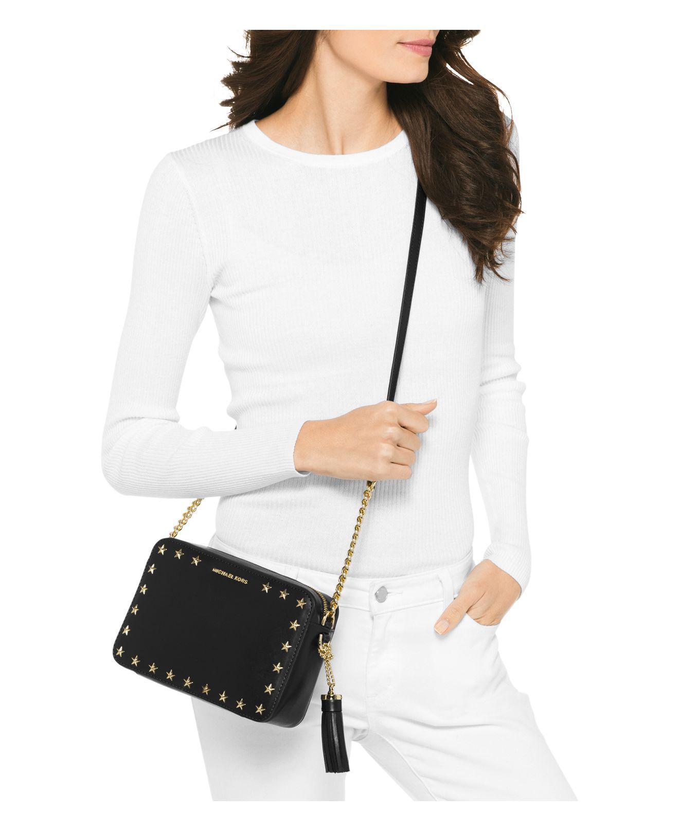 e8d0df39b MICHAEL Michael Kors Ginny Star Stud Medium Leather Camera Bag - Lyst