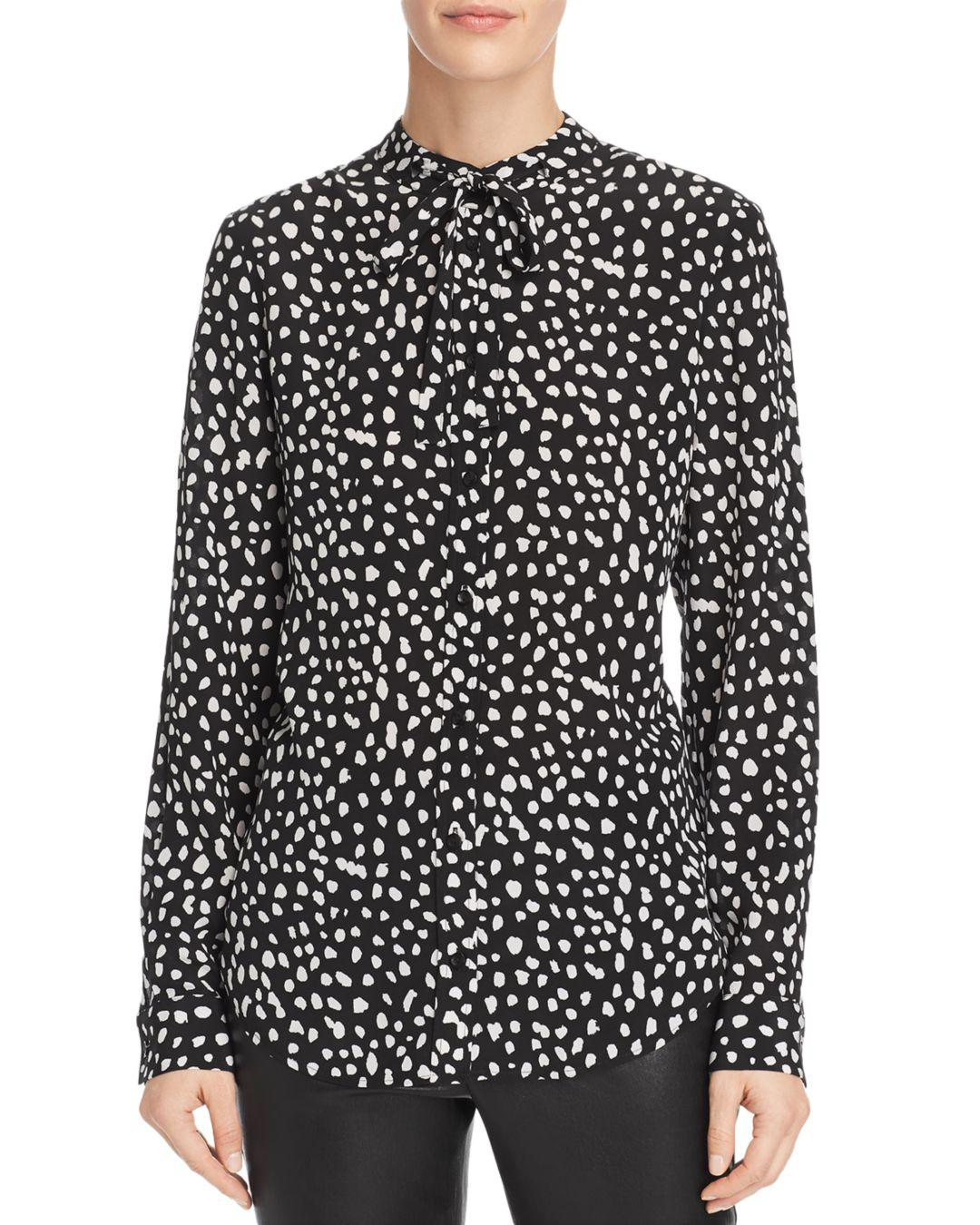 Lyst - Anine Bing Holly Printed Silk Blouse in Black - Save 0.5% ed1ce1e73