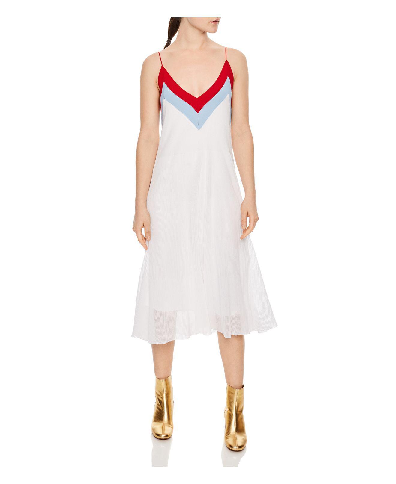 6bf2e40f75 Sandro Ilia Color-block Dress in White - Lyst