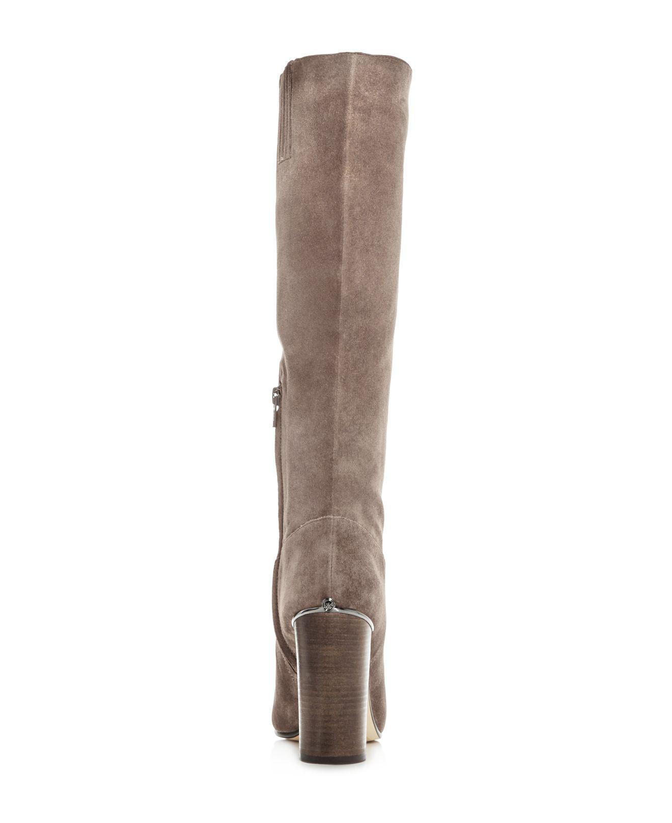 cfba5290d91 Lyst - MICHAEL Michael Kors Women s Janice Suede High Heel Boots in ...