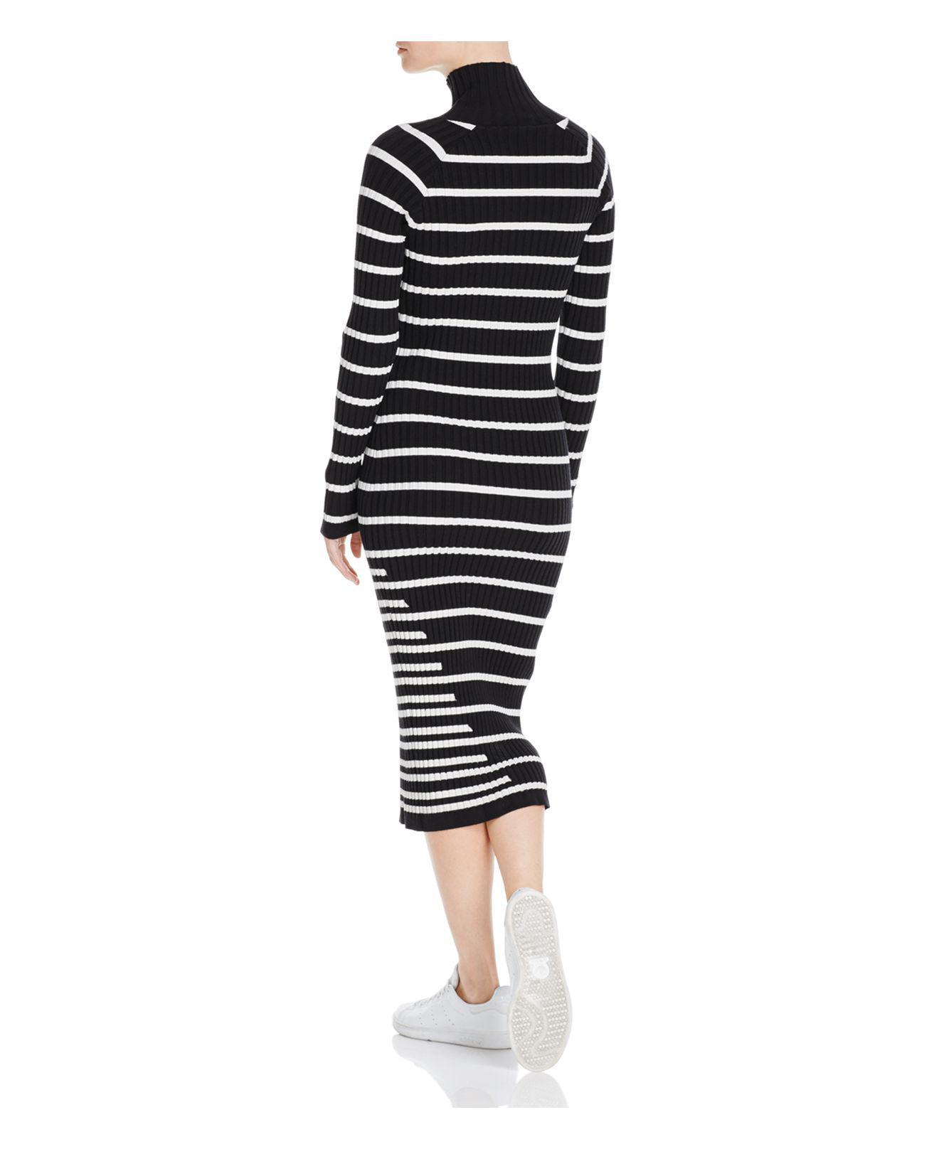 c291128b46 T By Alexander Wang Striped Body-con Sweater Dress in Black - Lyst