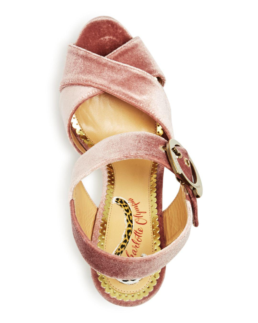 21896b3949cb Charlotte Olympia - Pink Women s Catbuck Velvet High-heel Platform Sandals  - Lyst. View fullscreen