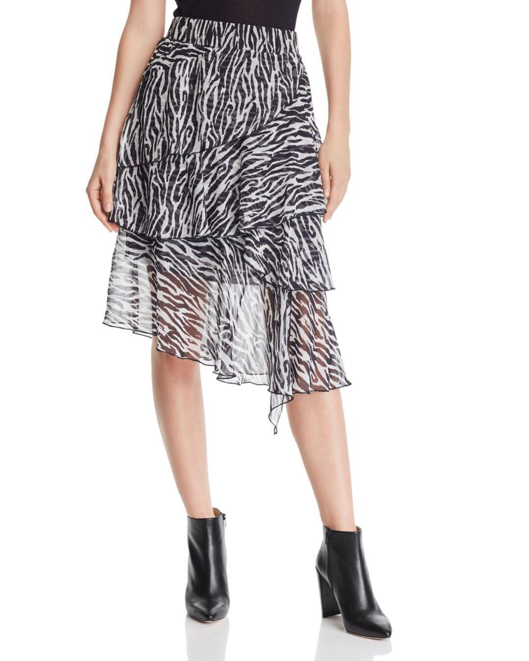 d554ae963af3 Lyst - Lucy Paris Asymmetric Zebra-print Midi Skirt in Black