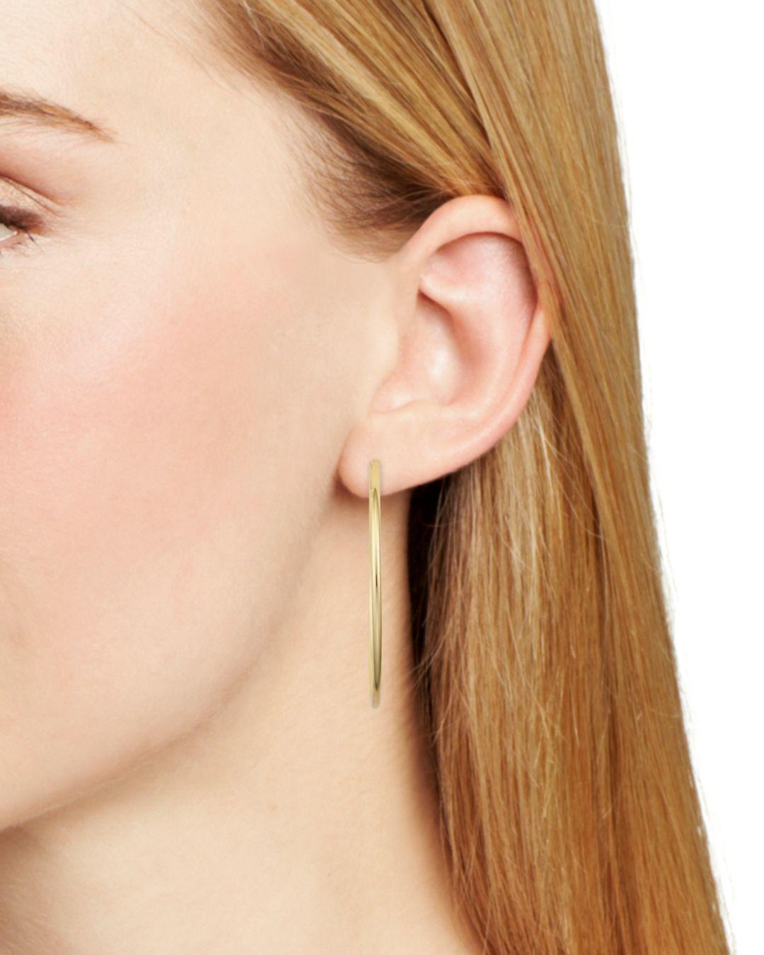 Lyst Aqua Medium Hoop Earrings In 18k Gold Plated Sterling Silver Or Metallic