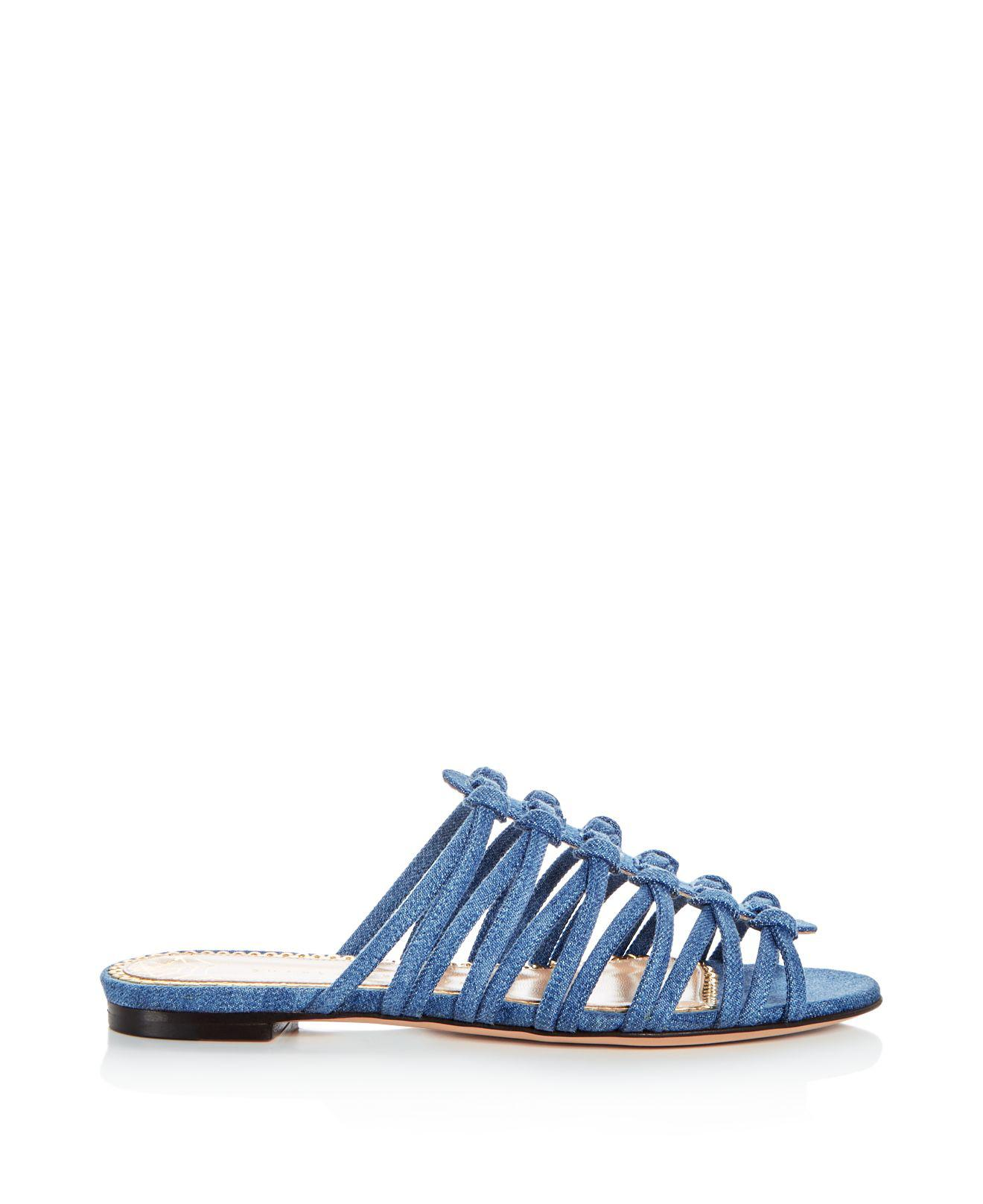 Charlotte Olympia Women's Bianca Knotted Denim Slide Sandals IeMYvbl