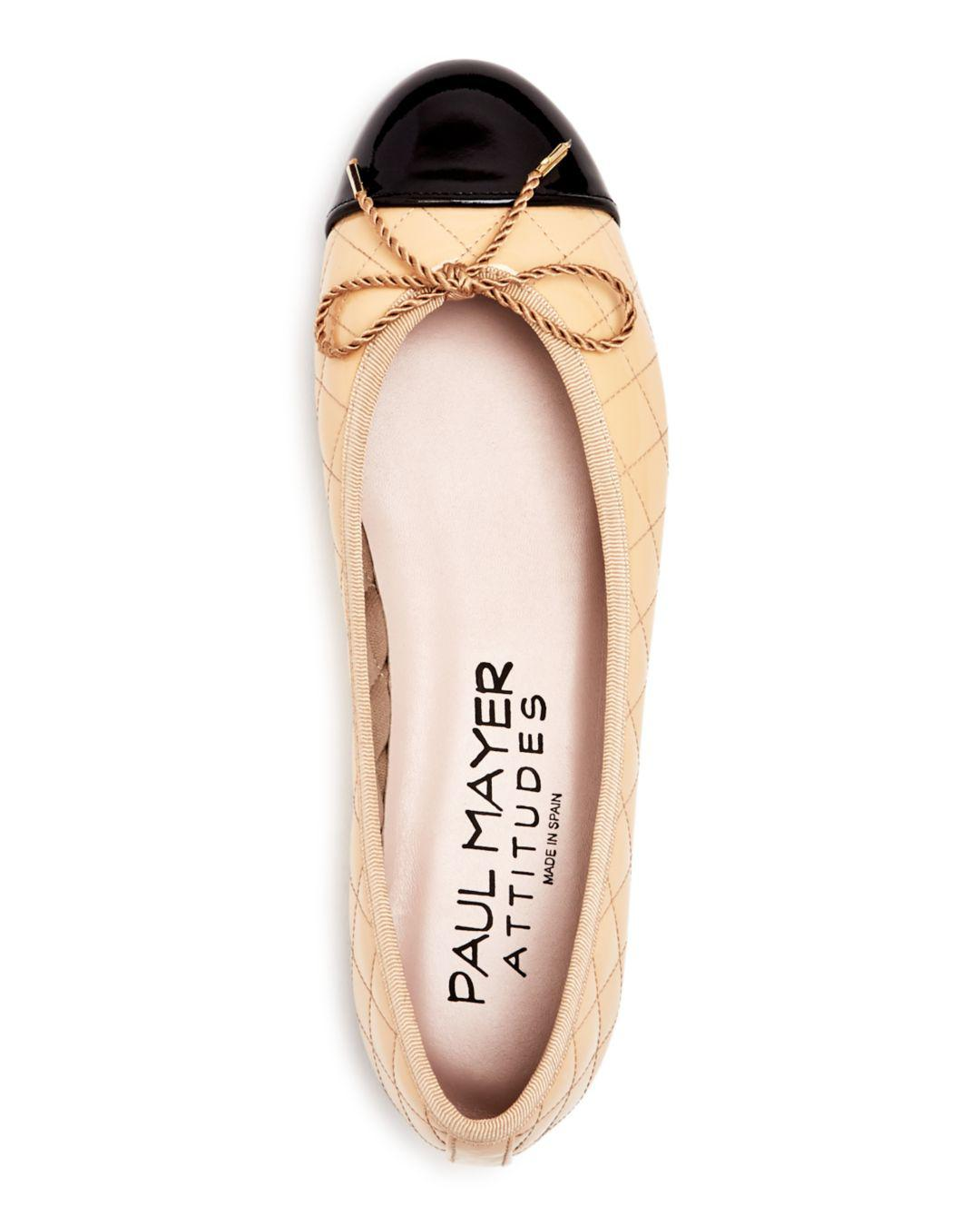 5e557e379 Paul Mayer Women's Best Quilted Leather Cap Toe Ballet Flats in ...