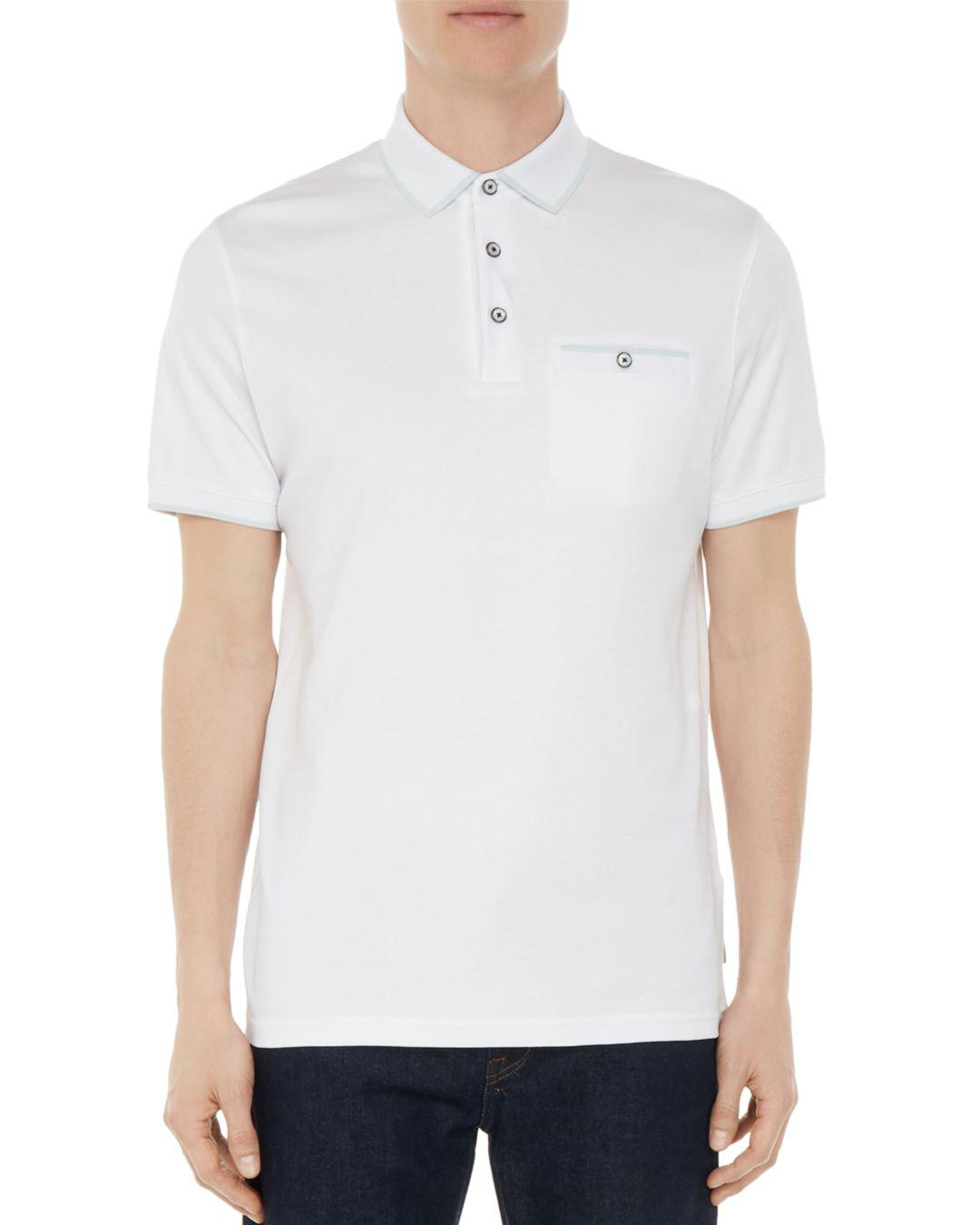 7a2d331fdd36d4 Lyst - Ted Baker Jelly Flat Knit Regular Fit Polo in White for Men