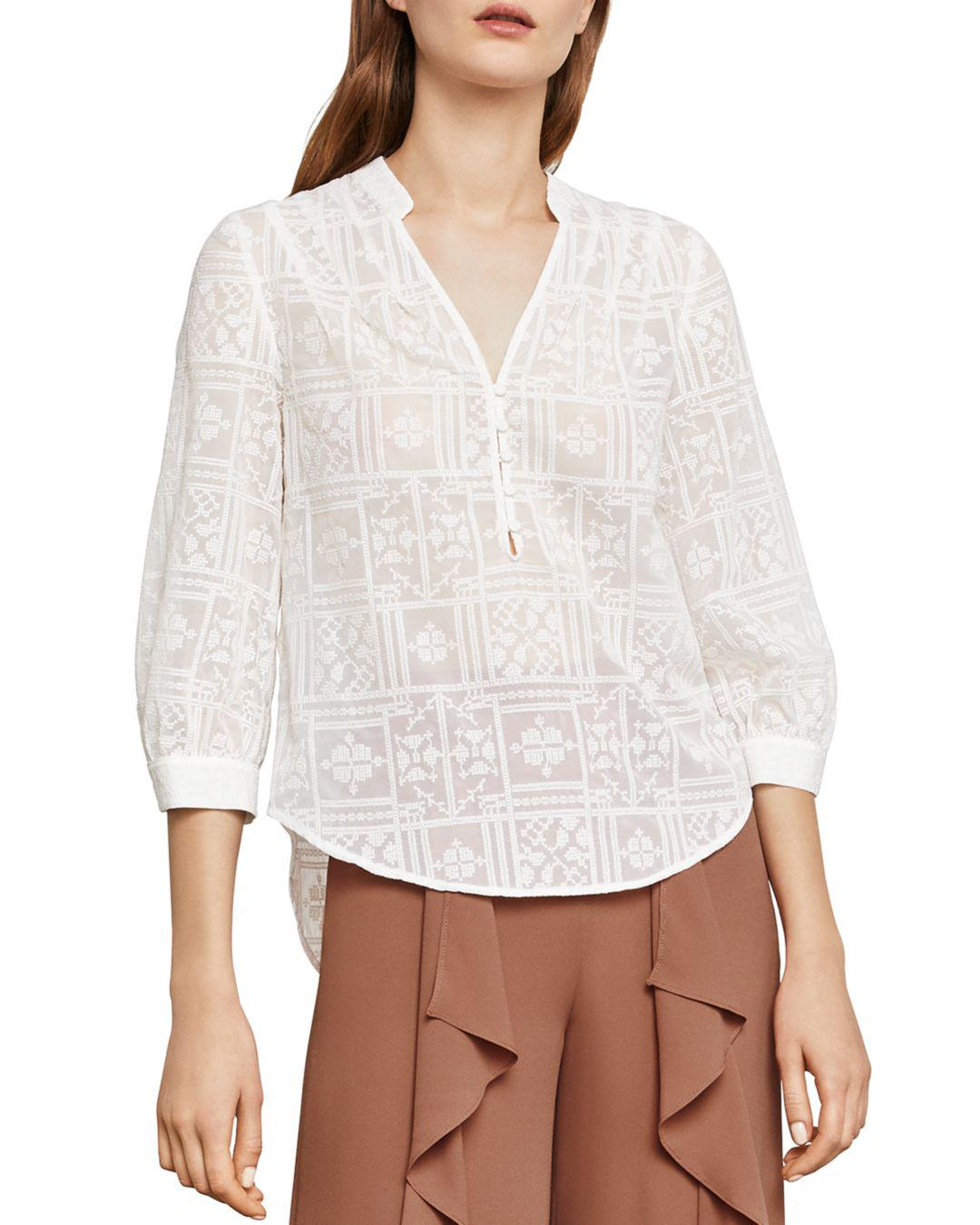 4f9d45019aa6b Bcbgmaxazria Kalie Embroidered Top in White - Lyst