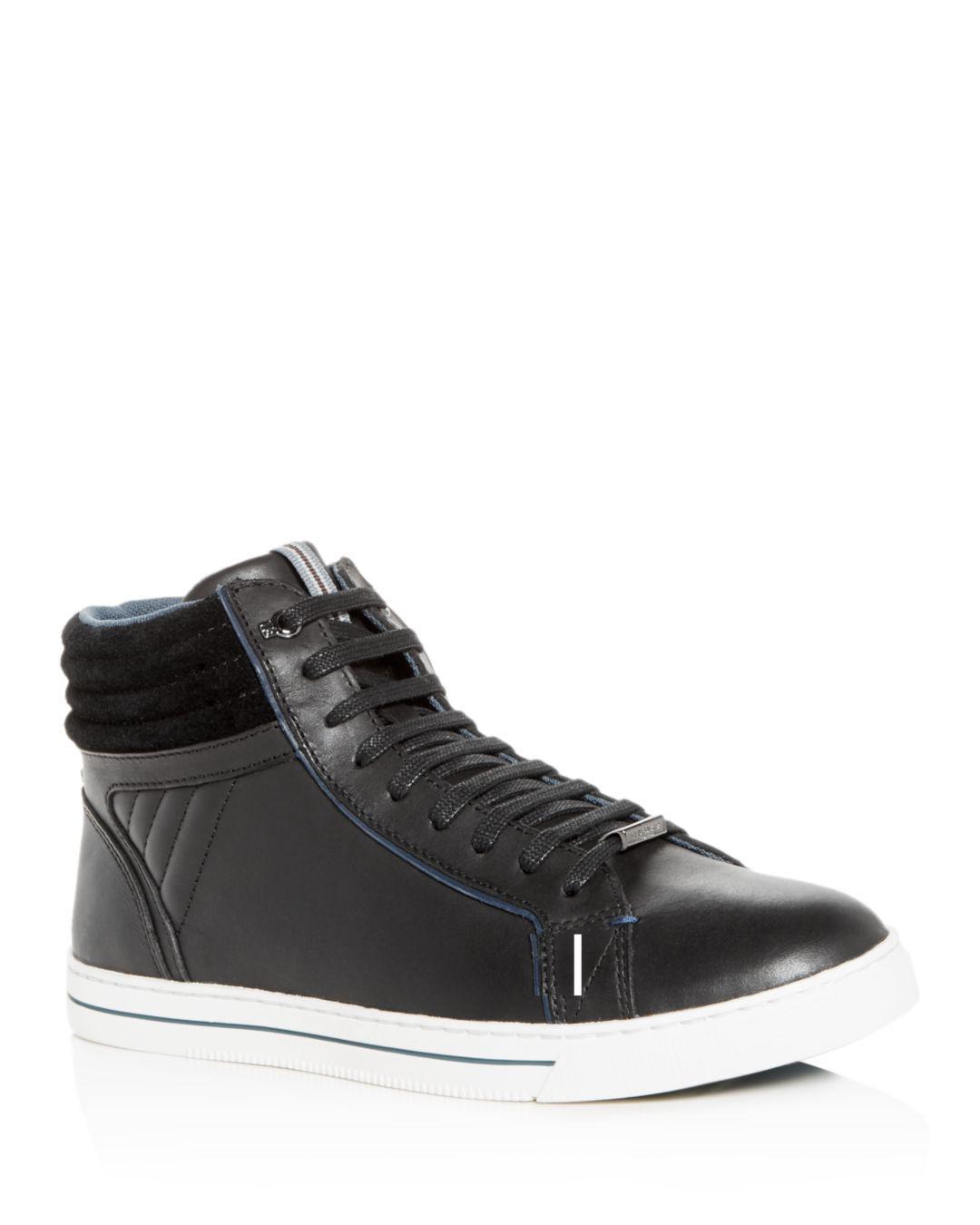 eeafaa1d79 Lyst - Ted Baker Men s Glyburt Leather High-top Sneakers in Black ...