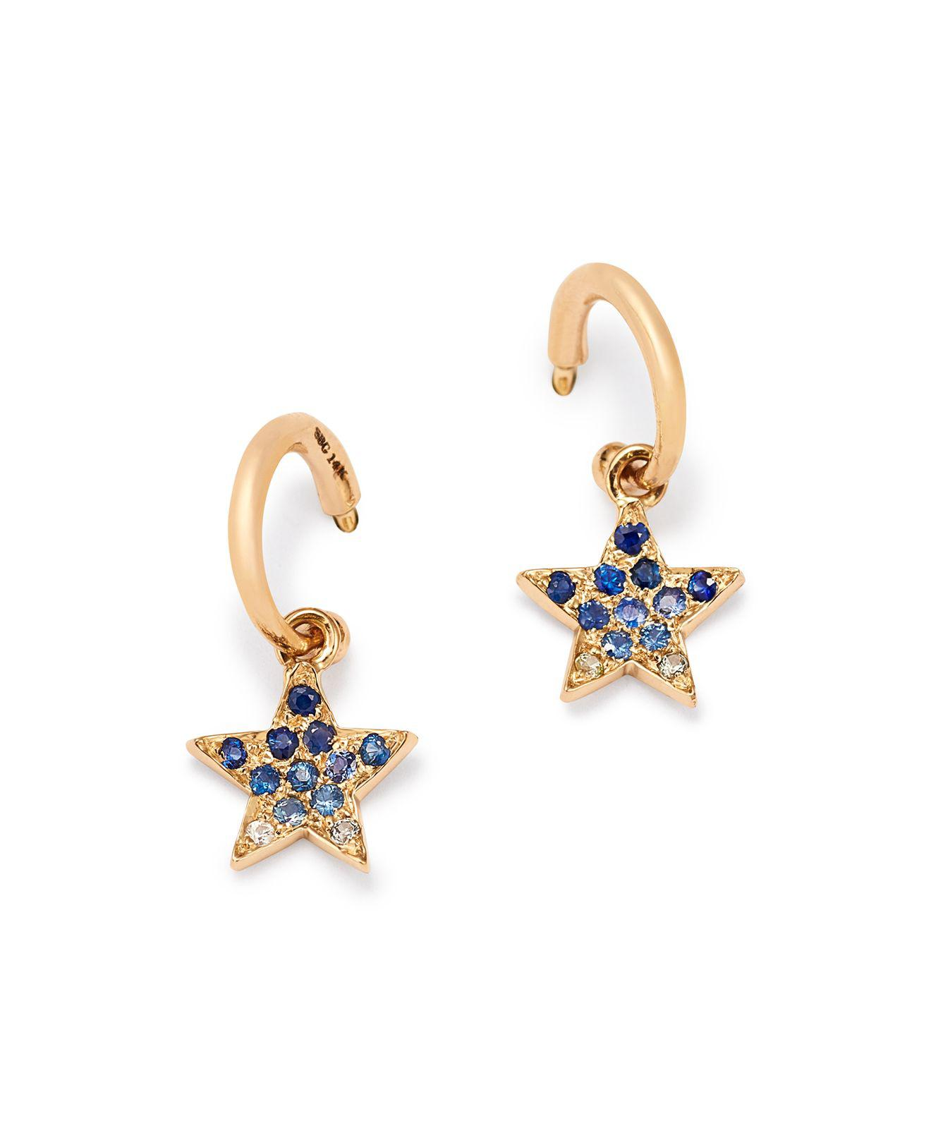 Wrap Around 14K Gold Sapphire Hoop Earrings She Bee V1qCjz
