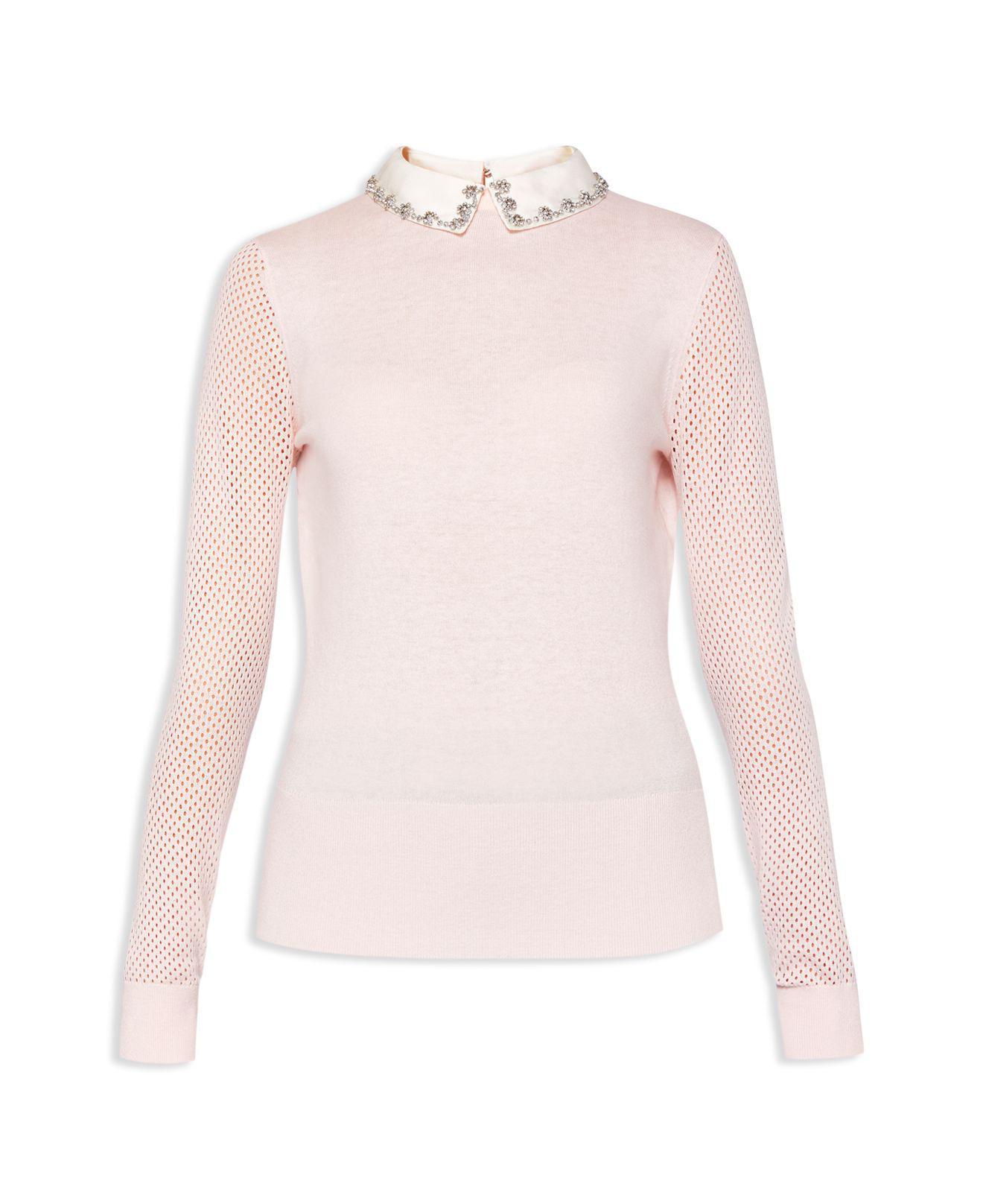 883402934eae Lyst - Ted Baker Braydey Embellished Collar Jumper in Pink